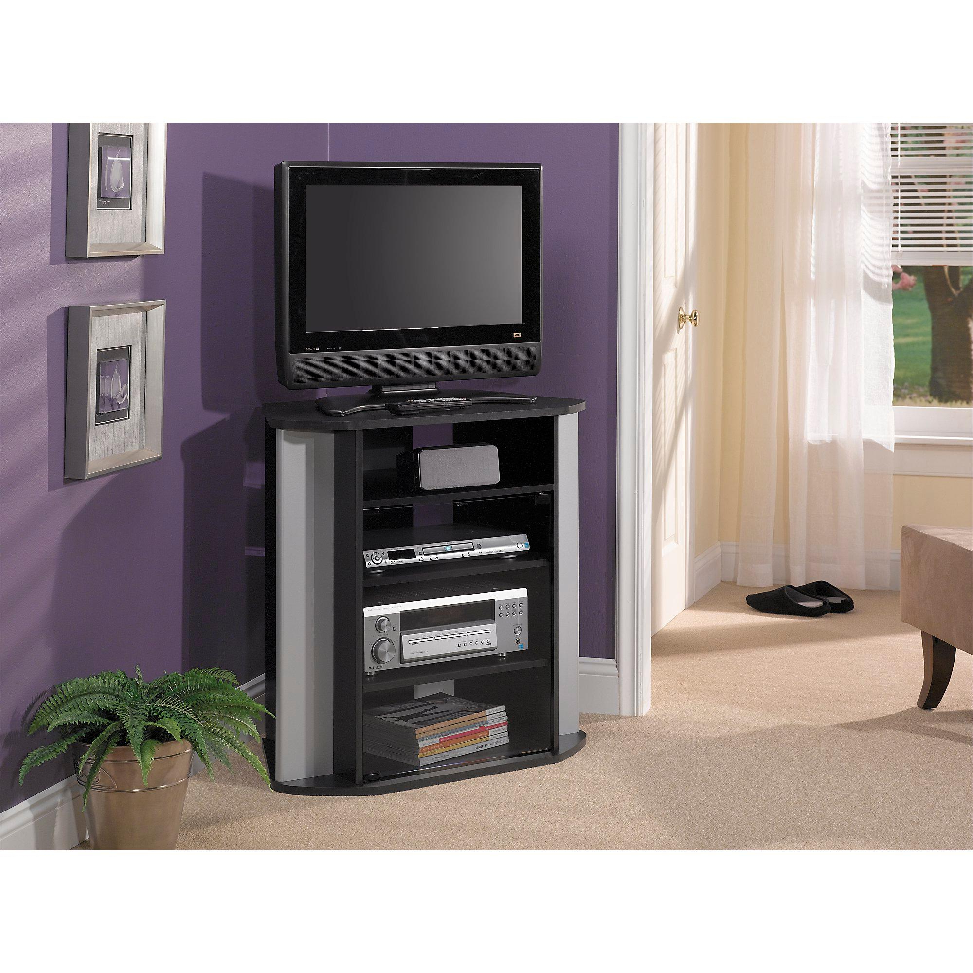 Fashionable Bush Furniture Visions Tall Corner Tv Stand In Black: Amazon (View 8 of 20)