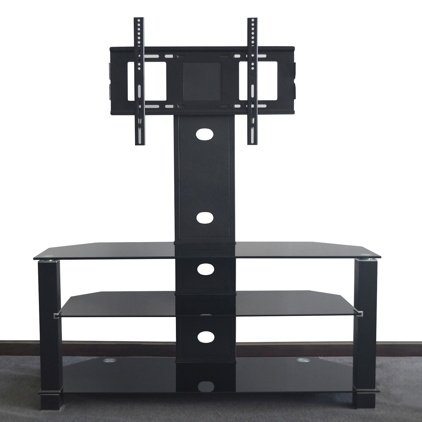 Fashionable Cantilever Tv Stands Pertaining To Cantilever Glass Tv Stand With Swivel Bracket For 32 To 55 Inches Tv (View 12 of 20)