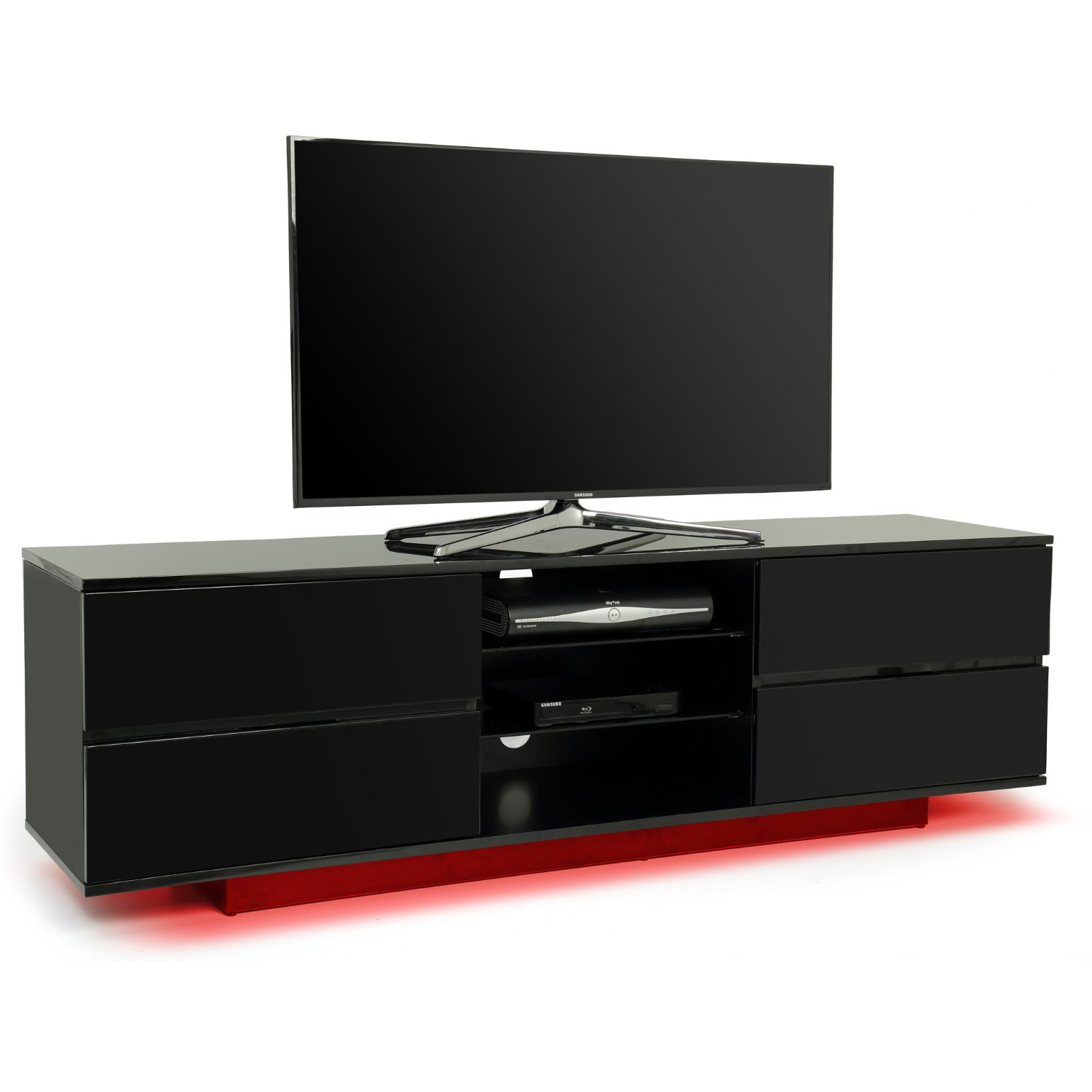 Fashionable Centurion Supports Avitus Gloss Black 4 Drawer With Red Led Lights With Red Gloss Tv Stands (View 14 of 20)