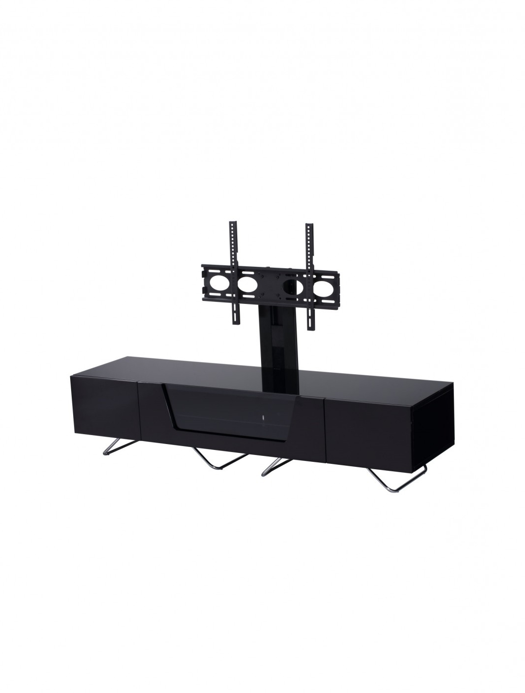 Fashionable Cheap Cantilever Tv Stands Within Alphason Chromium Cantilever Tv Stand Cro2 1600Bkt Bk (View 10 of 20)