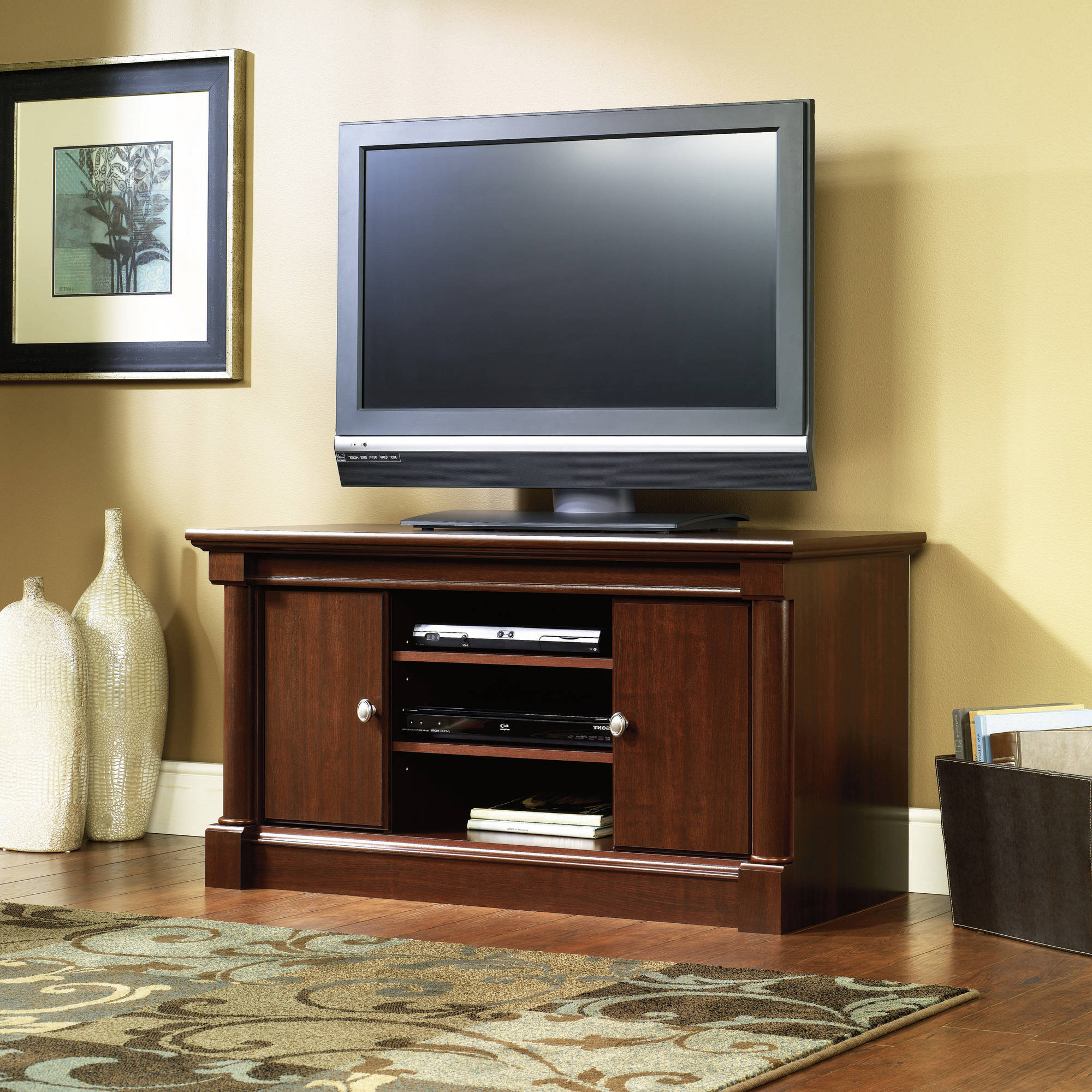 Fashionable Cherry Tv Stand Entertainment Center With Storage Media Furniture Intended For Cherry Wood Tv Stands (View 9 of 20)