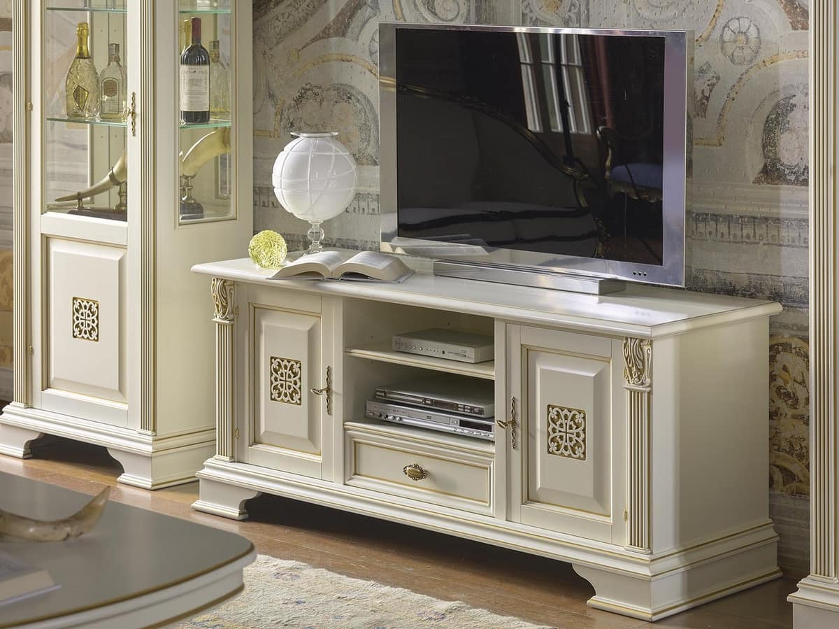 Fashionable Classic Tv Cabinets Inside Tv Stand With 2 Doors And 1 Drawer, In Luxury Classic Style (View 4 of 20)
