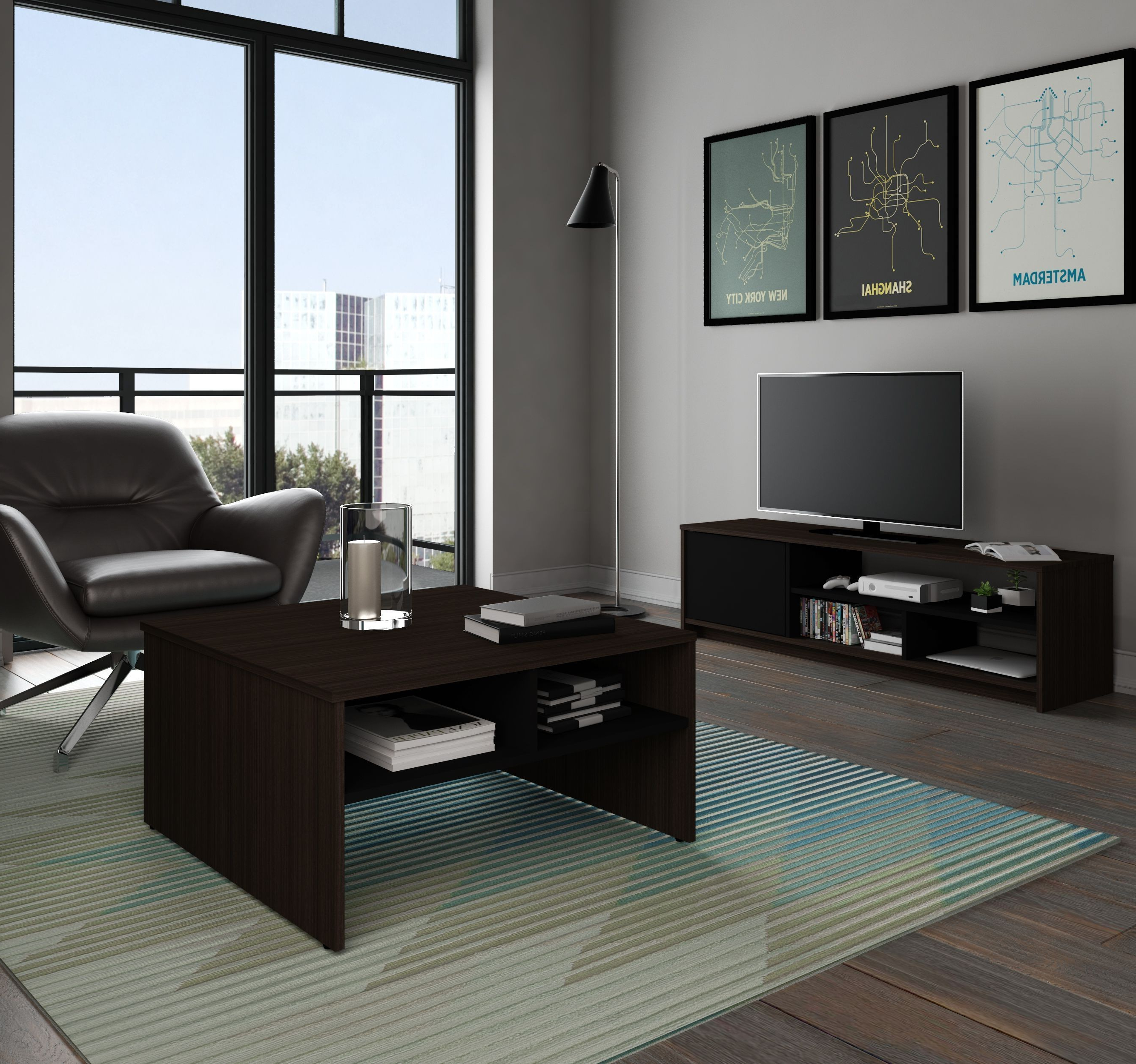 Fashionable Coffee Tables And Tv Stands Inside Bestar Small Space Dark Chocolate And Black Storage Coffee Table (Gallery 7 of 20)