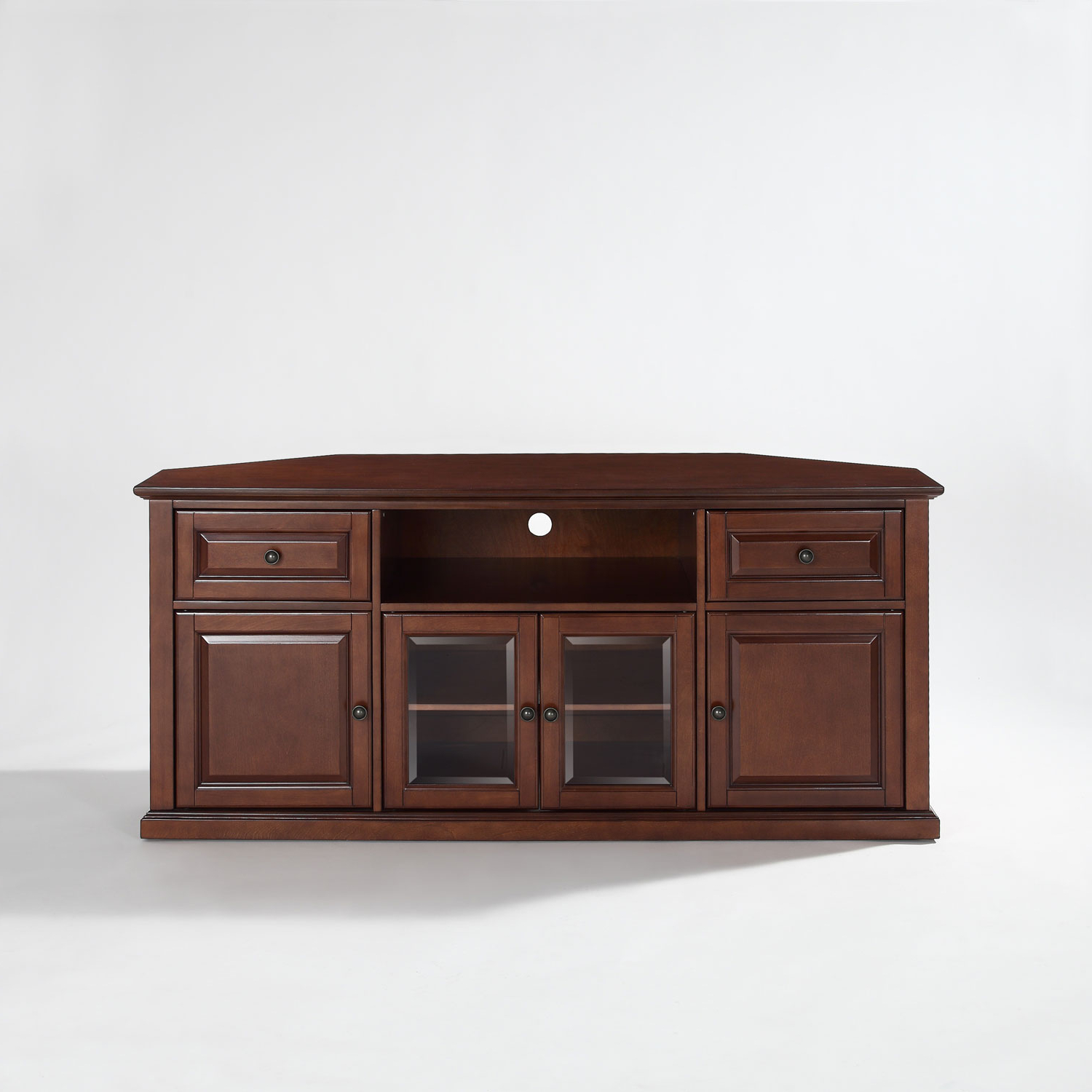 Fashionable Corner Wooden Tv Cabinets Within Crosley Furniture 60 Inch Corner Tv Stand In Vintage Mahogany (View 12 of 20)