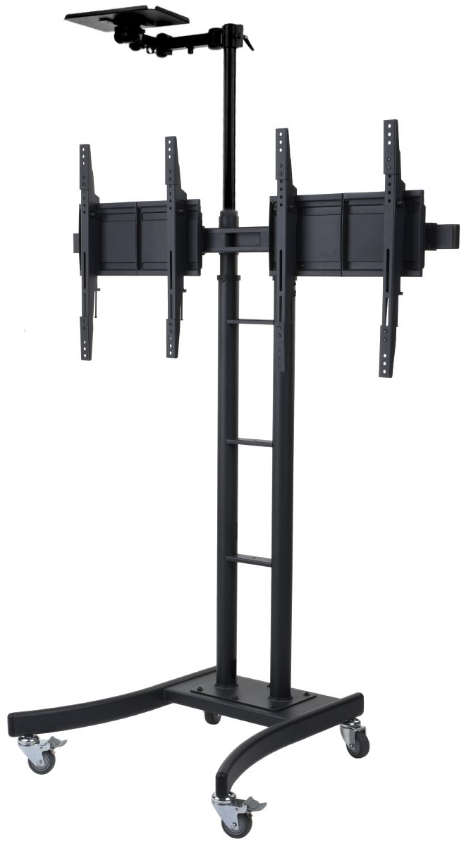 """Fashionable Dual Tv Stand W/ 2 Mounts, Fits Monitors 24"""" 70"""", W/ Camera Shelf With Regard To Dual Tv Stands (View 8 of 20)"""