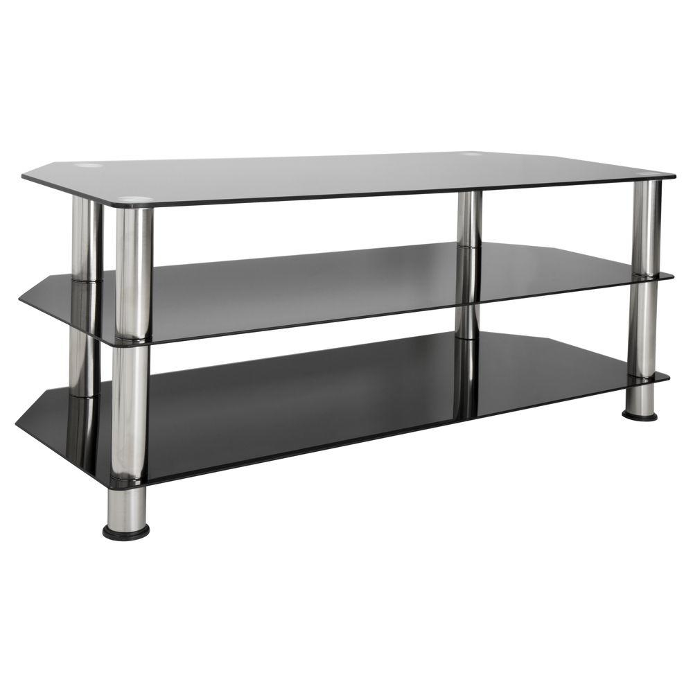 Fashionable Glass Tv Stands Regarding Avf Glass And Chrome Entertainment Center Sdc1140 A – The Home Depot (View 2 of 20)