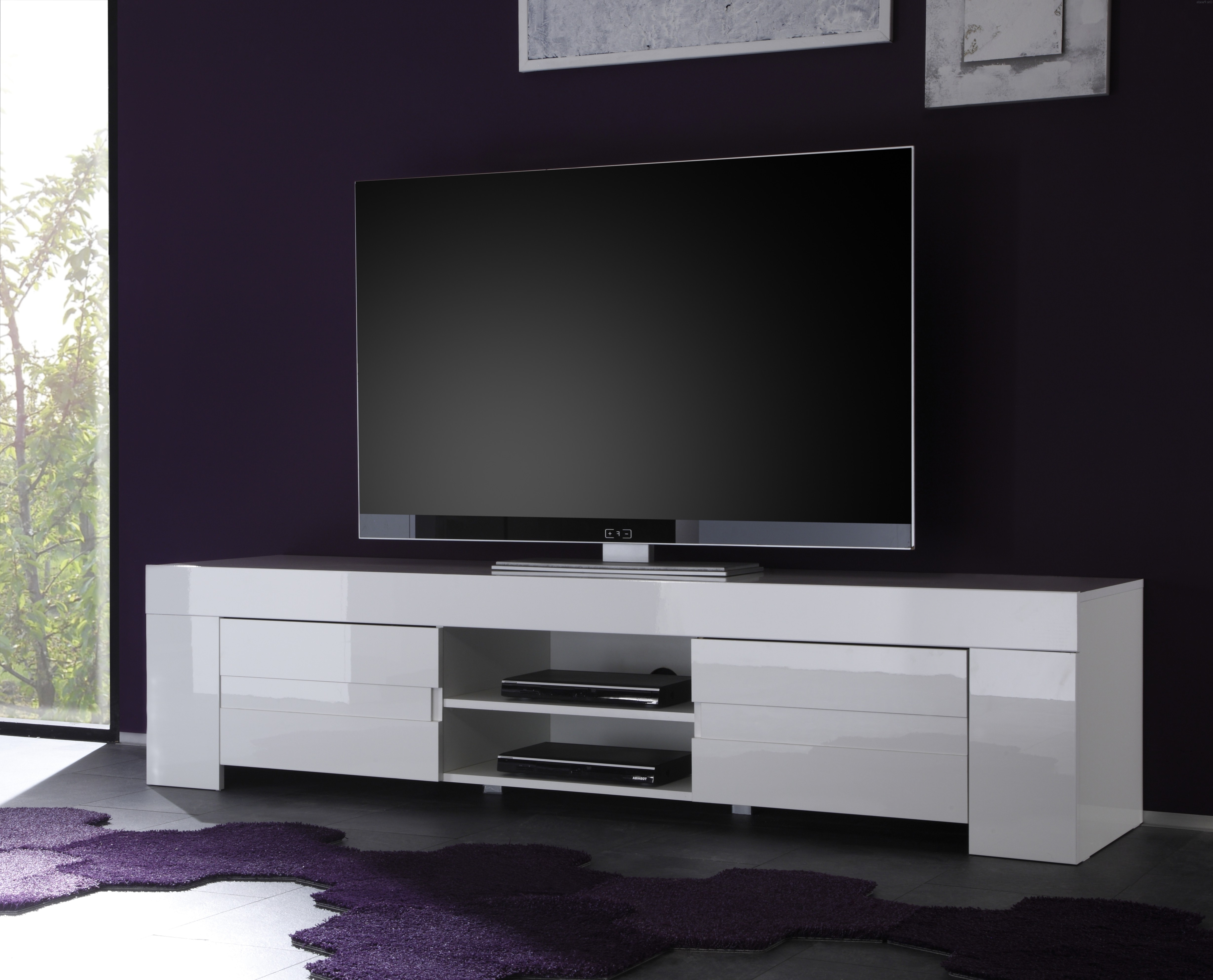 Fashionable Gloss Tv Stands For Dolce Italian White Gloss Tv Unit 190Cm (Gallery 4 of 20)