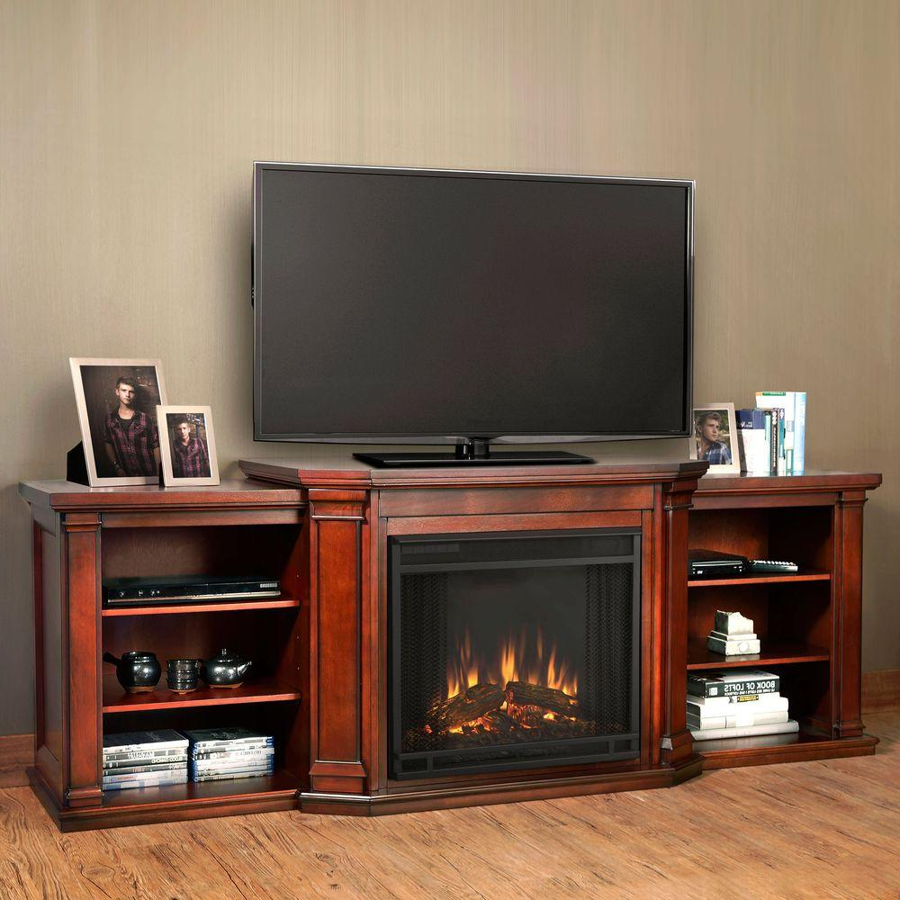Fashionable Mahogany Tv Stands Inside Real Flame Valmont 76 In. Media Console Electric Fireplace Tv Stand (Gallery 2 of 20)