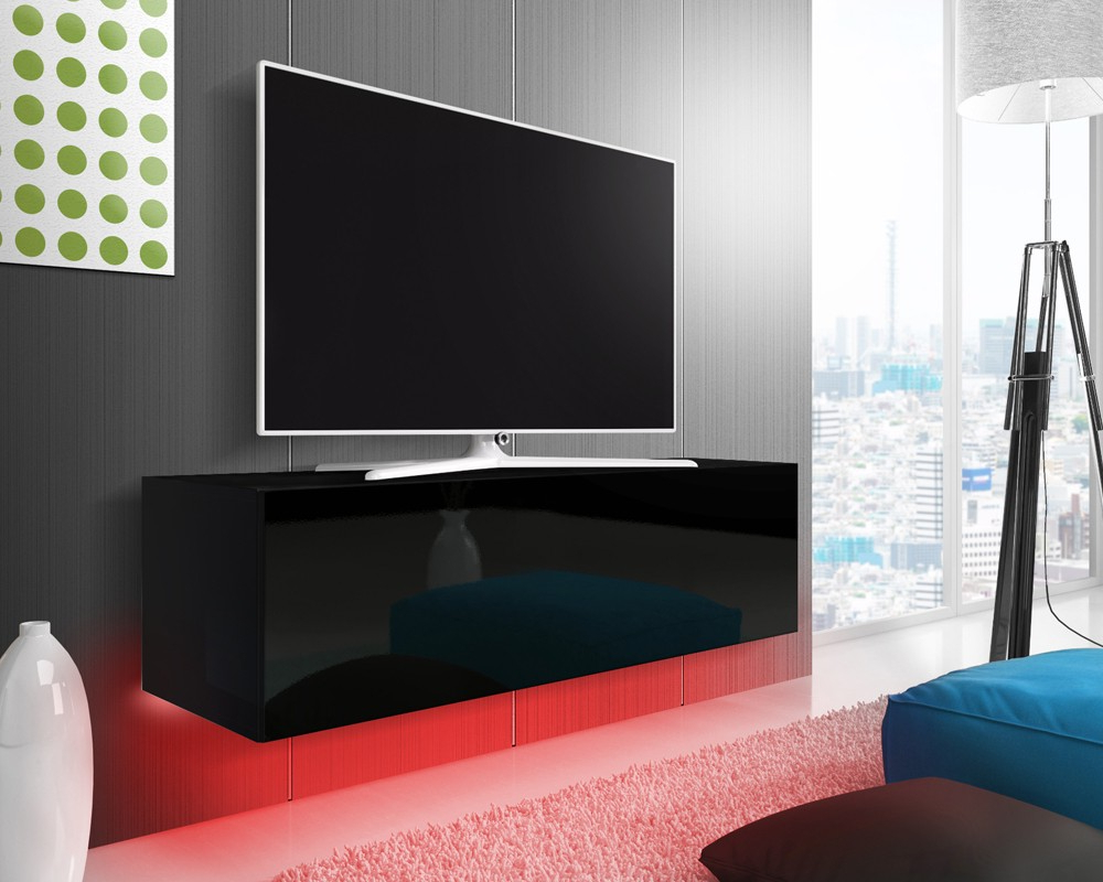 Fashionable Mason Black Gloss Floating Tv Stand Intended For Black Gloss Tv Benches (View 7 of 20)