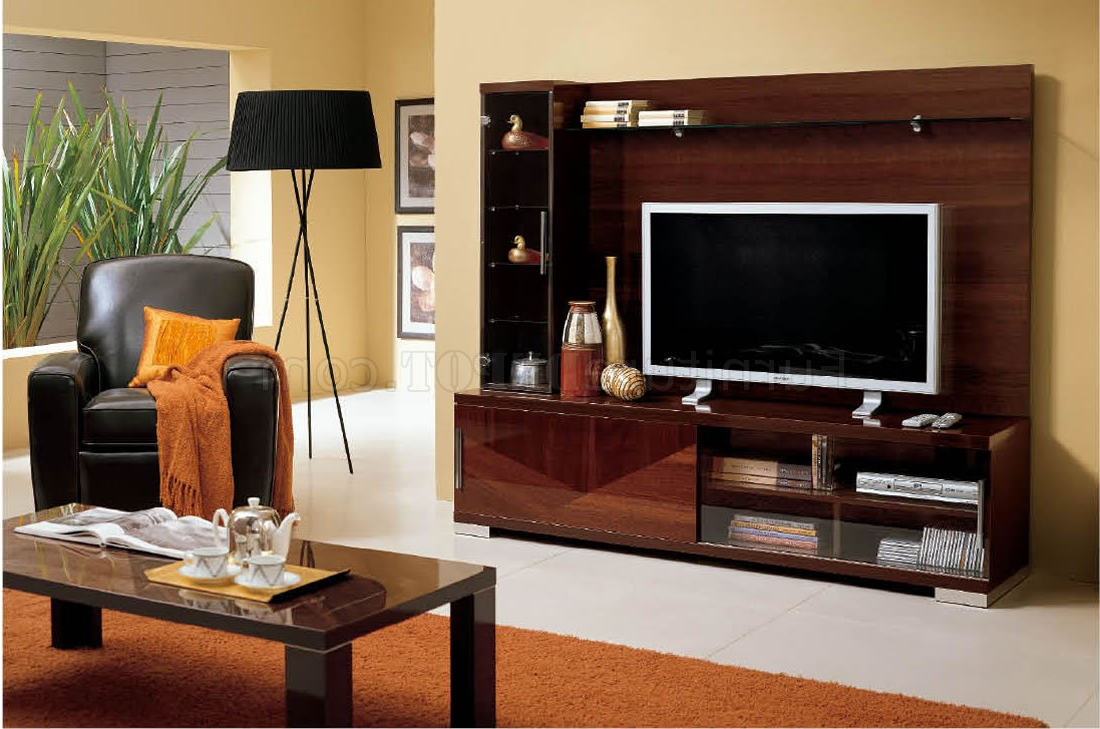 Fashionable Modern Wall Unit In Walnut High Gloss Finish W/display Cabinet With Regard To Tv Cabinets And Wall Units (View 12 of 20)