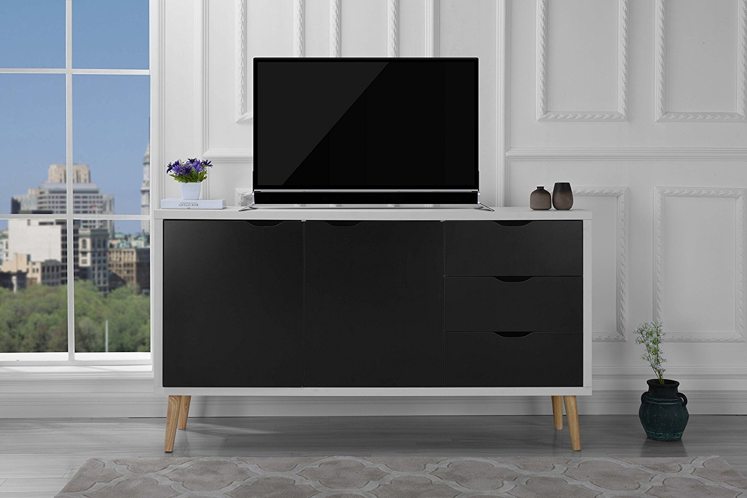 Fashionable Modern Wooden Tv Stands With Regard To Modern Wooden Tv Stand Mid Century Cabinet With Drawers (Dark Grey (View 6 of 20)
