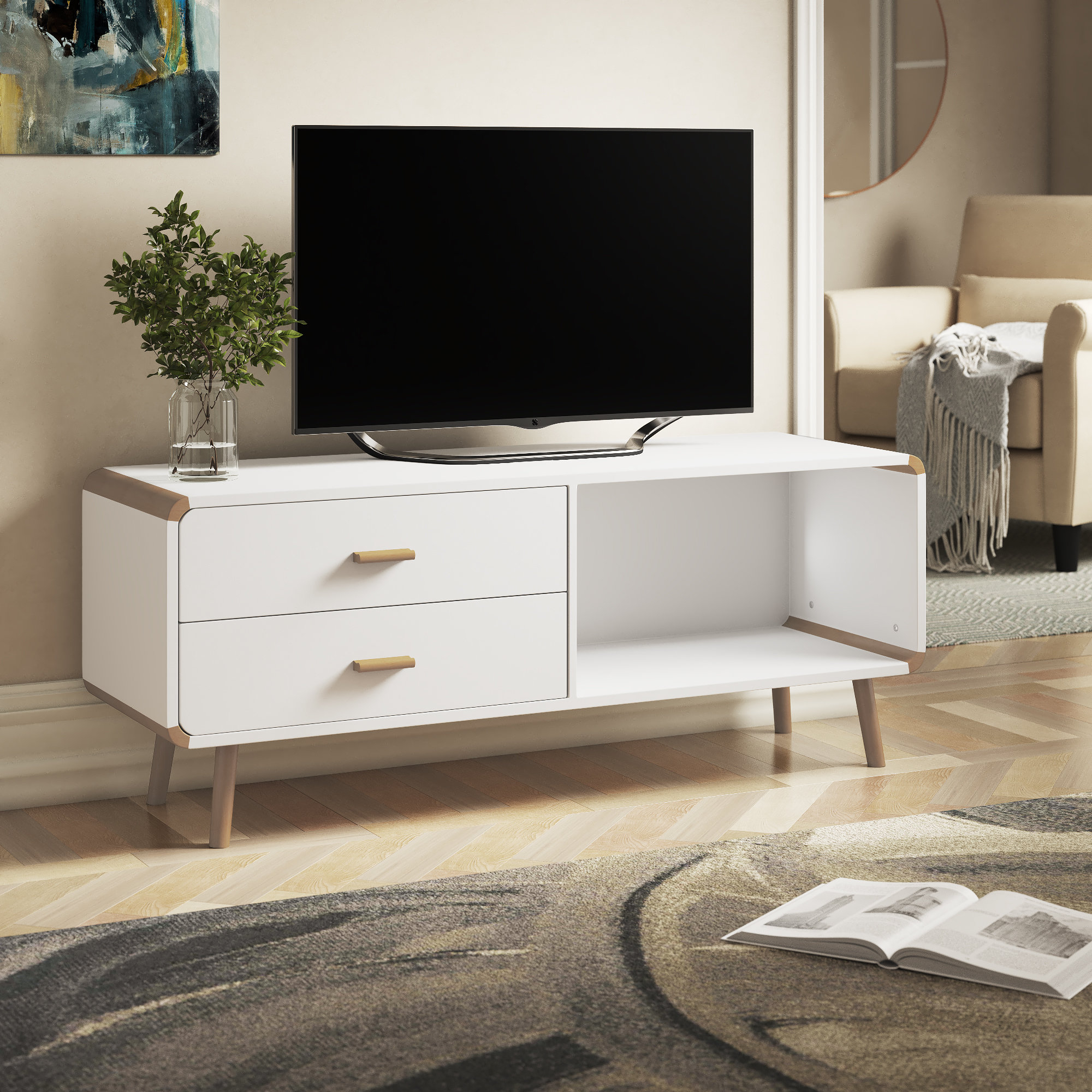 Fashionable Relaxdays Long Storage Drawers Tv Stand (Gallery 8 of 20)