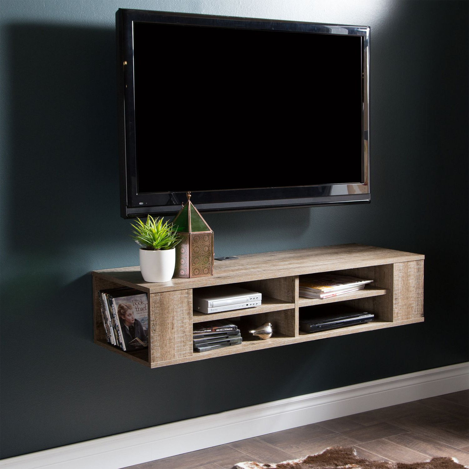 Fashionable Shelf For Under Wall Mounted Tv Home Theater Component Rack Ideas Pertaining To Wall Mounted Tv Stands With Shelves (View 19 of 20)