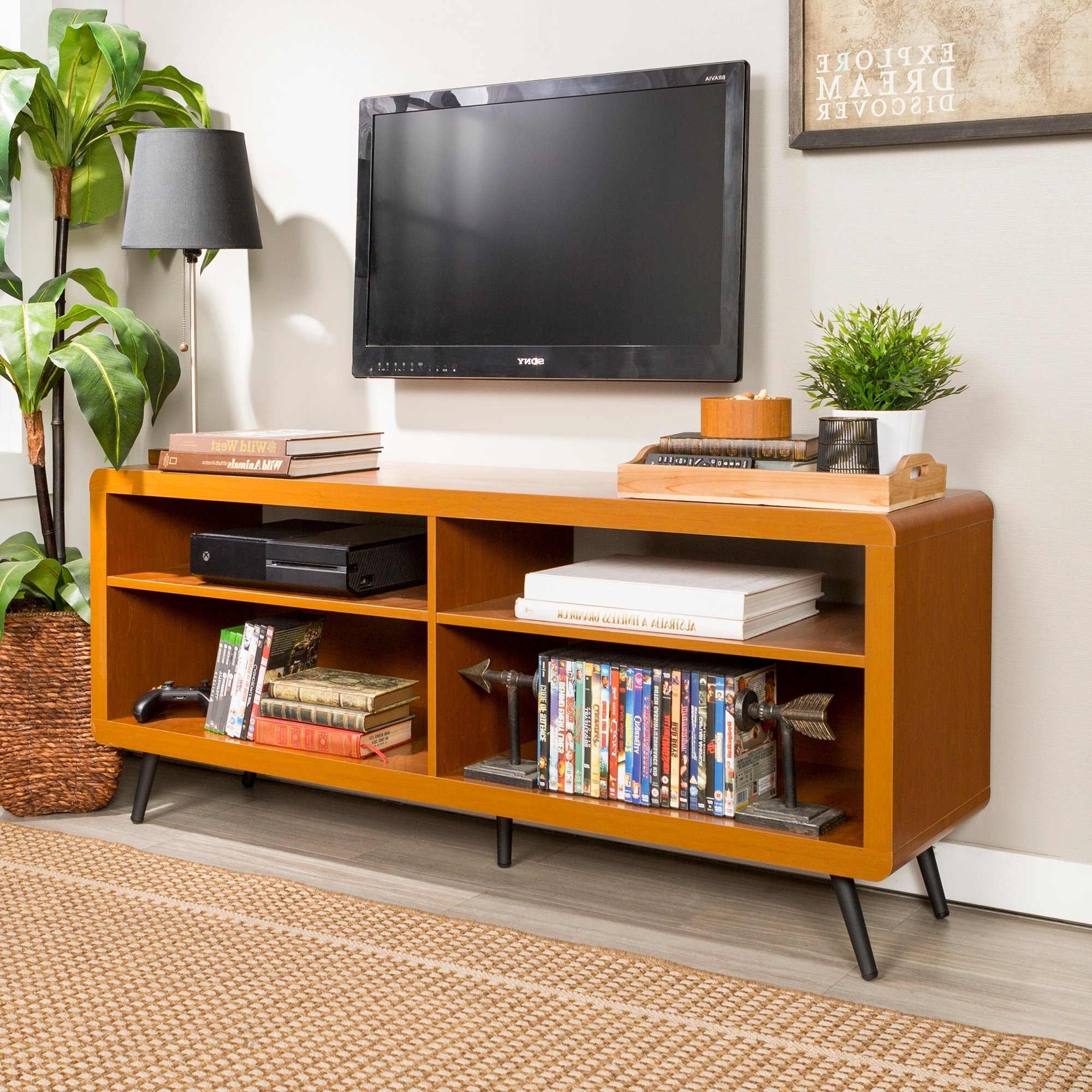 """Fashionable Shop 58"""" Tv Stand Console – Acorn – 58 X 16 X 24h – On Sale – Free Intended For Tv Stands Rounded Corners (View 11 of 20)"""