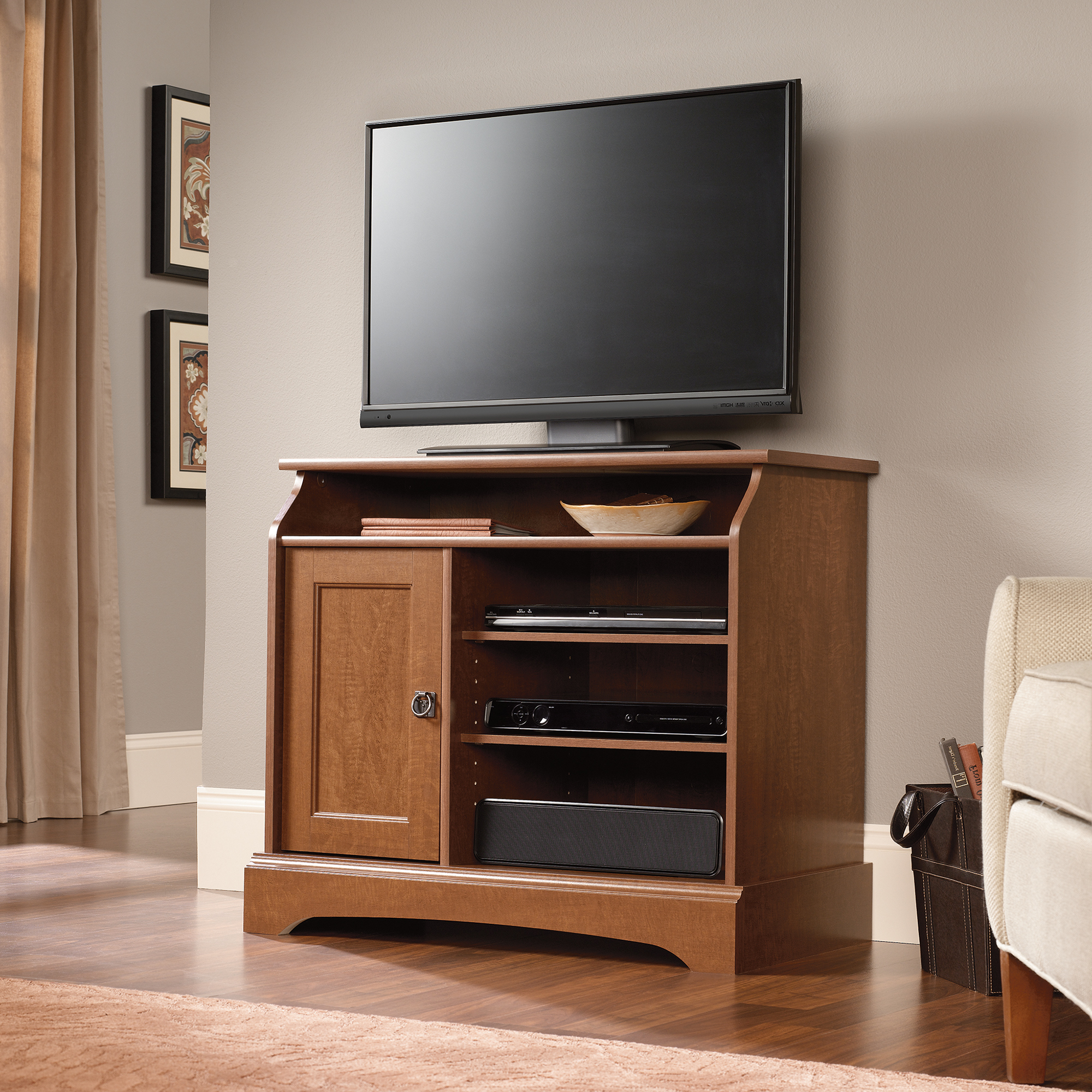 Fashionable Solid Maple Tv Stand Light Oak Honey With Media Storage Sauder With Regard To Maple Tv Stands For Flat Screens (Gallery 9 of 20)