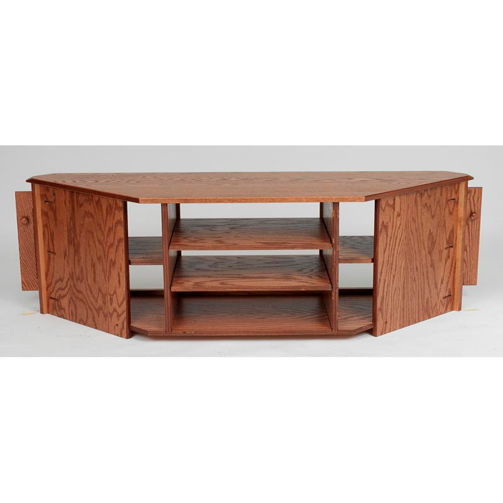 "Fashionable Solid Wood Oak Country Corner Tv Stand W/cabinet – 55"" – The Oak In Corner Tv Tables Stands (Gallery 19 of 20)"