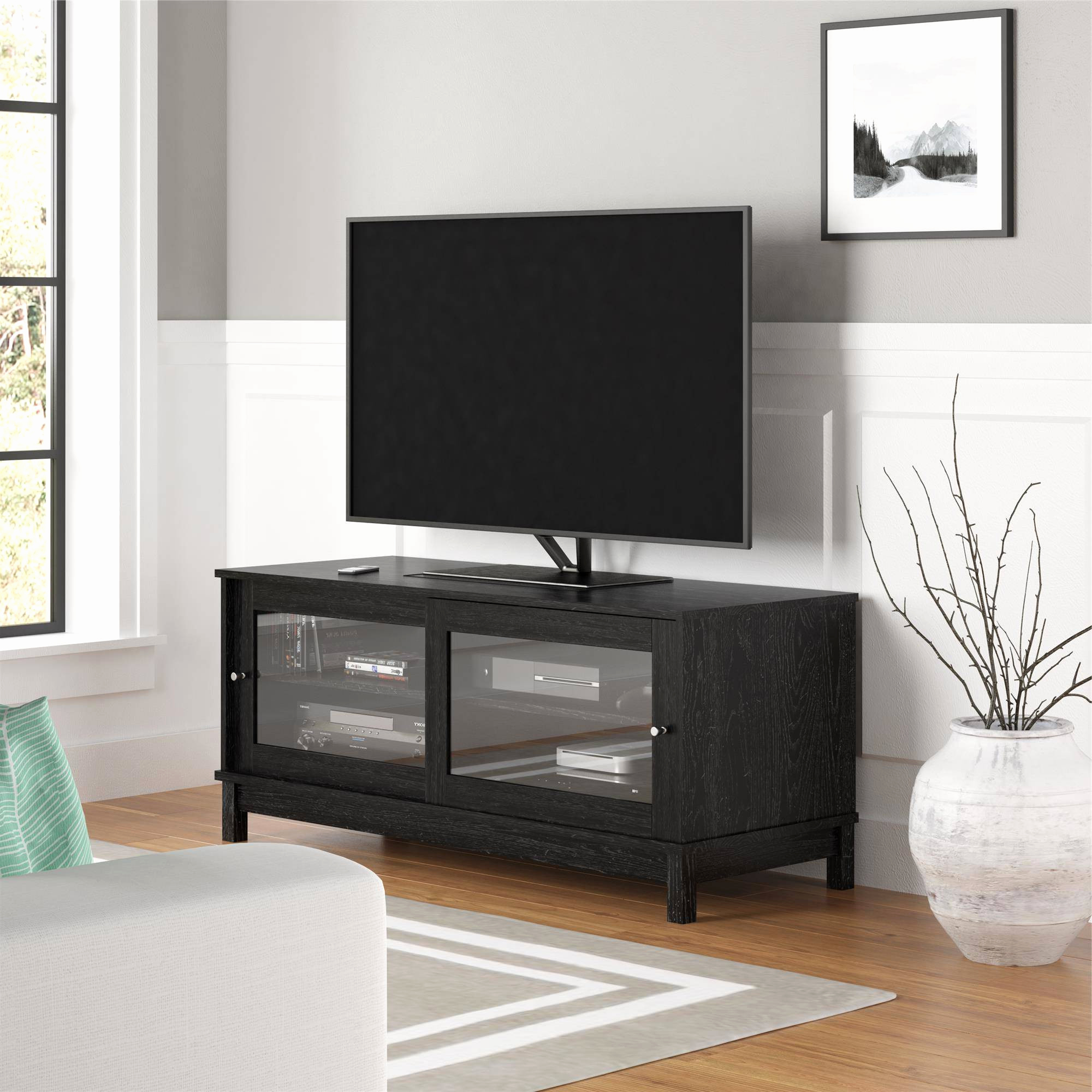 Fashionable Tempered Glass Tv Stand Stands With Mount Black Target Wood And Within Tv Cabinets With Glass Doors (View 19 of 20)