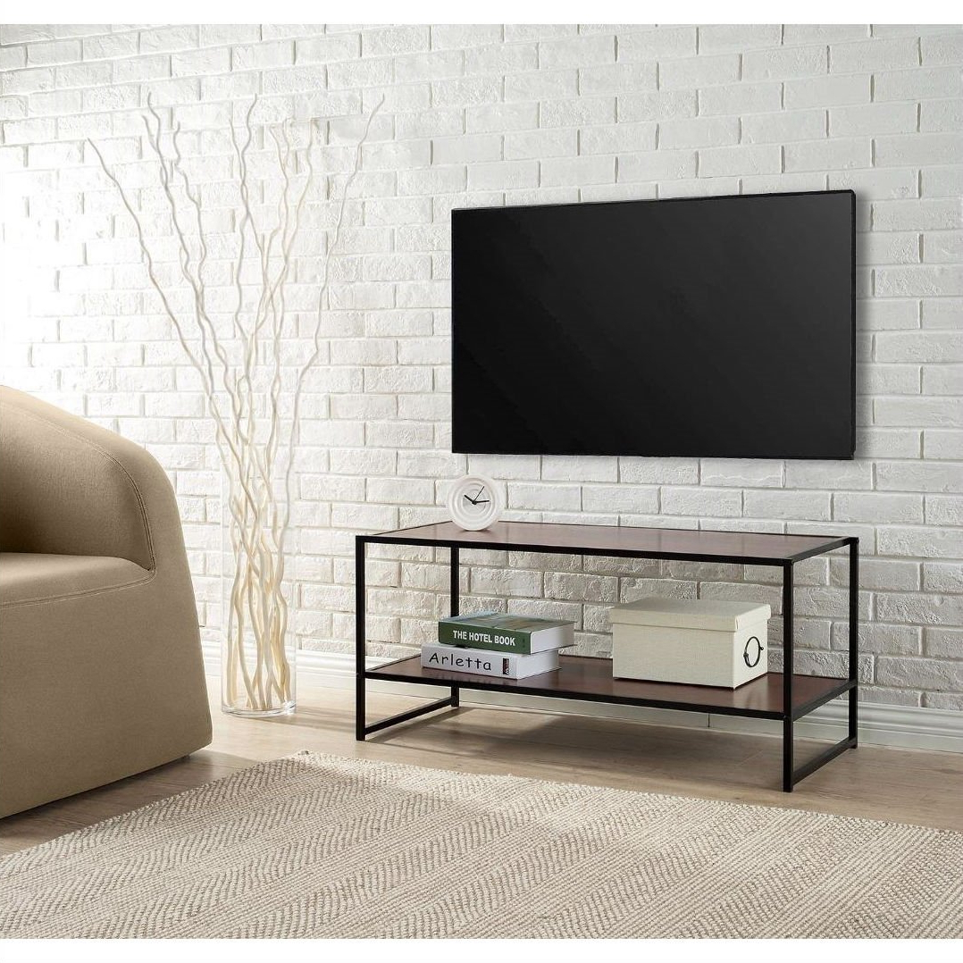 Fashionable Tv Stands 40 Inches Wide With Modern Design 40 Inch Tv Stand In Metal / Brown Wood Finish (View 9 of 20)