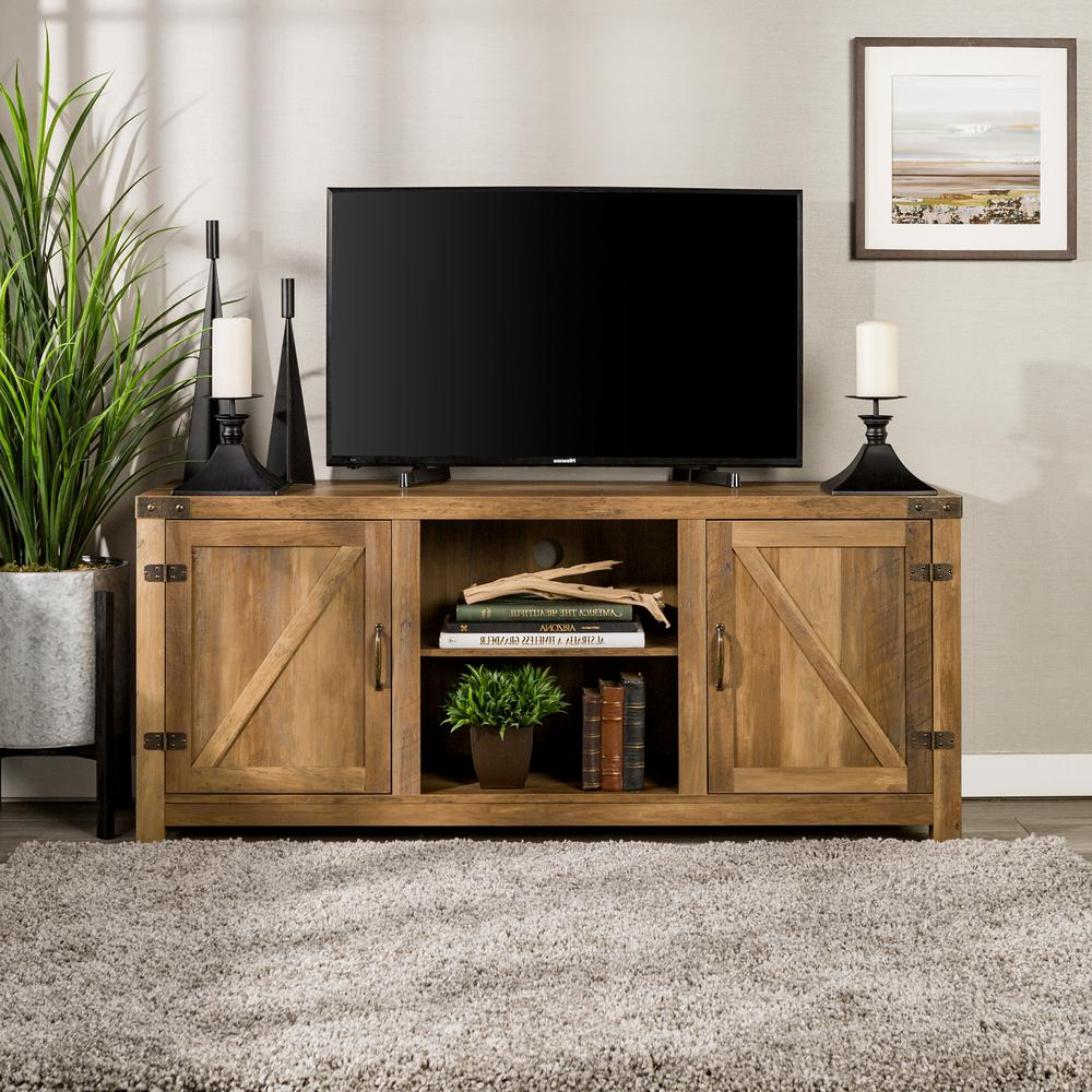 Fashionable Walker Edison Furniture Company 58 In. Rustic Oak Barn Door Tv Stand Pertaining To Wooden Tv Stands With Doors (Gallery 19 of 20)