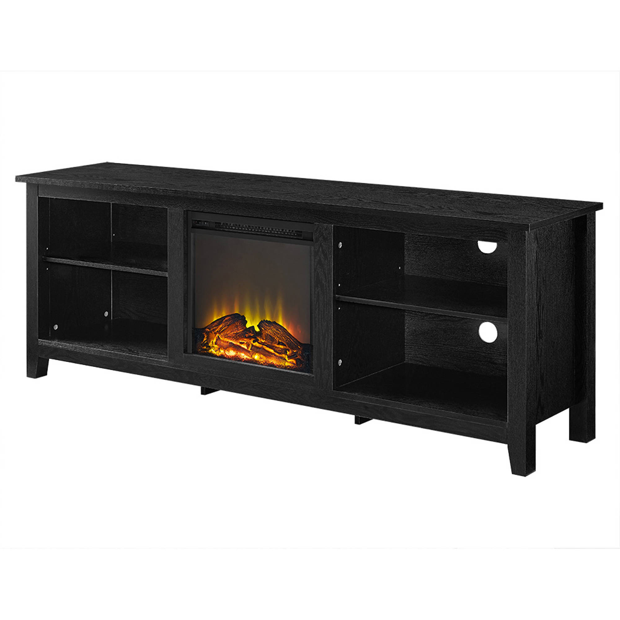 "Fashionable We Furniture Az70fp18bl 70"" Wood Fireplace Tv Stand Black (View 18 of 20)"