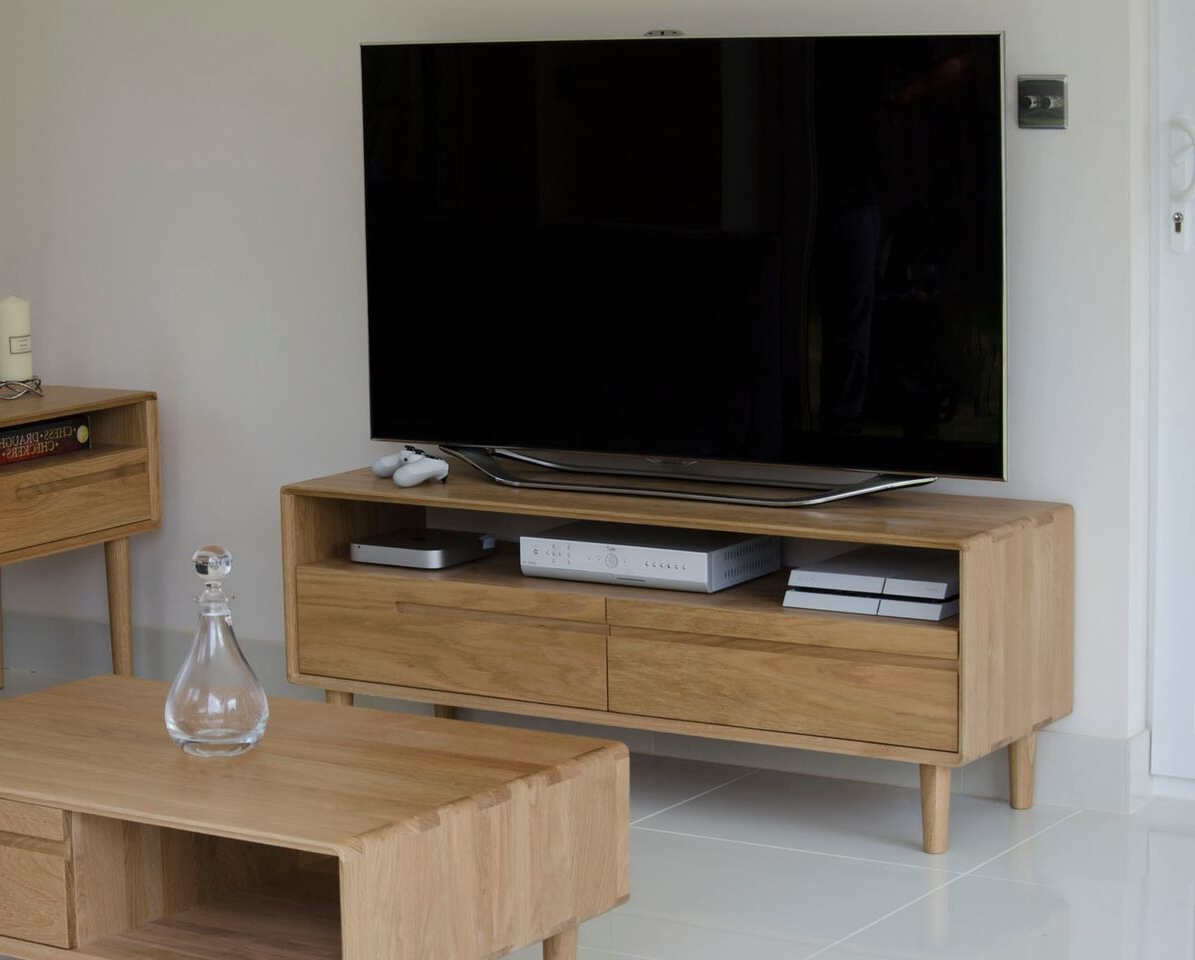 Favorite 100Cm Width Tv Units Intended For Homestyle Scandic Solid Oak Medium Tv Unit From The Bed Station (View 8 of 20)