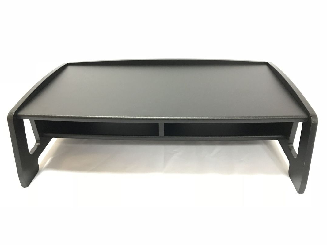 Favorite 2 Tiers Computer Monitor Stand , Black Cutouts Tv Riser Shelf Saving Pertaining To Tv Riser Stand (Gallery 10 of 20)