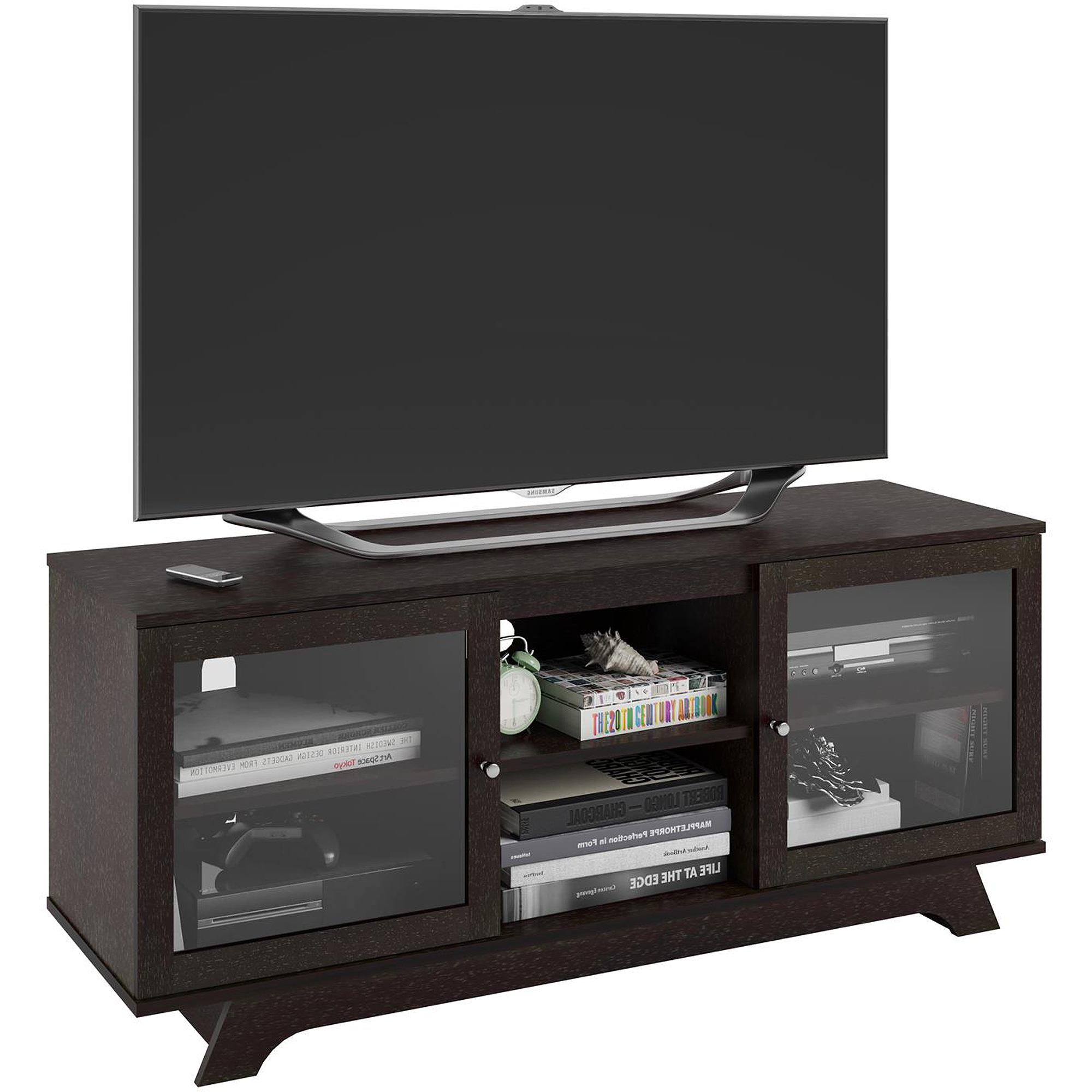 "Favorite Ameriwood Home Englewood Tv Stand For Tvs Up To 55"", Espresso Throughout Oak Tv Stands With Glass Doors (Gallery 19 of 20)"