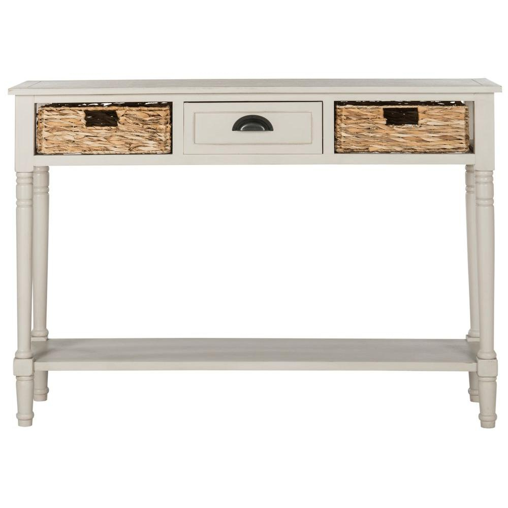 Favorite Antique White Distressed Console Tables In Safavieh Christa Vintage Gray Storage Console Table Amh5737D – The (View 7 of 20)