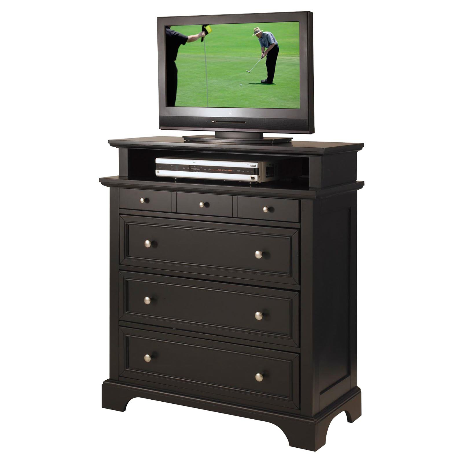 Favorite Bedford Tv Stands Throughout Home Styles Bedford 6 Drawer Media Chest – Black – Walmart (View 9 of 20)