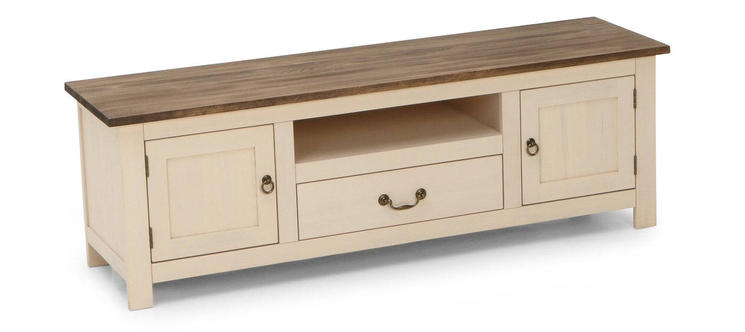 Favorite Cream Painted Pine Media Tv Stand With Shelf Draw & Cupboards In Pine Tv Stands (View 2 of 20)