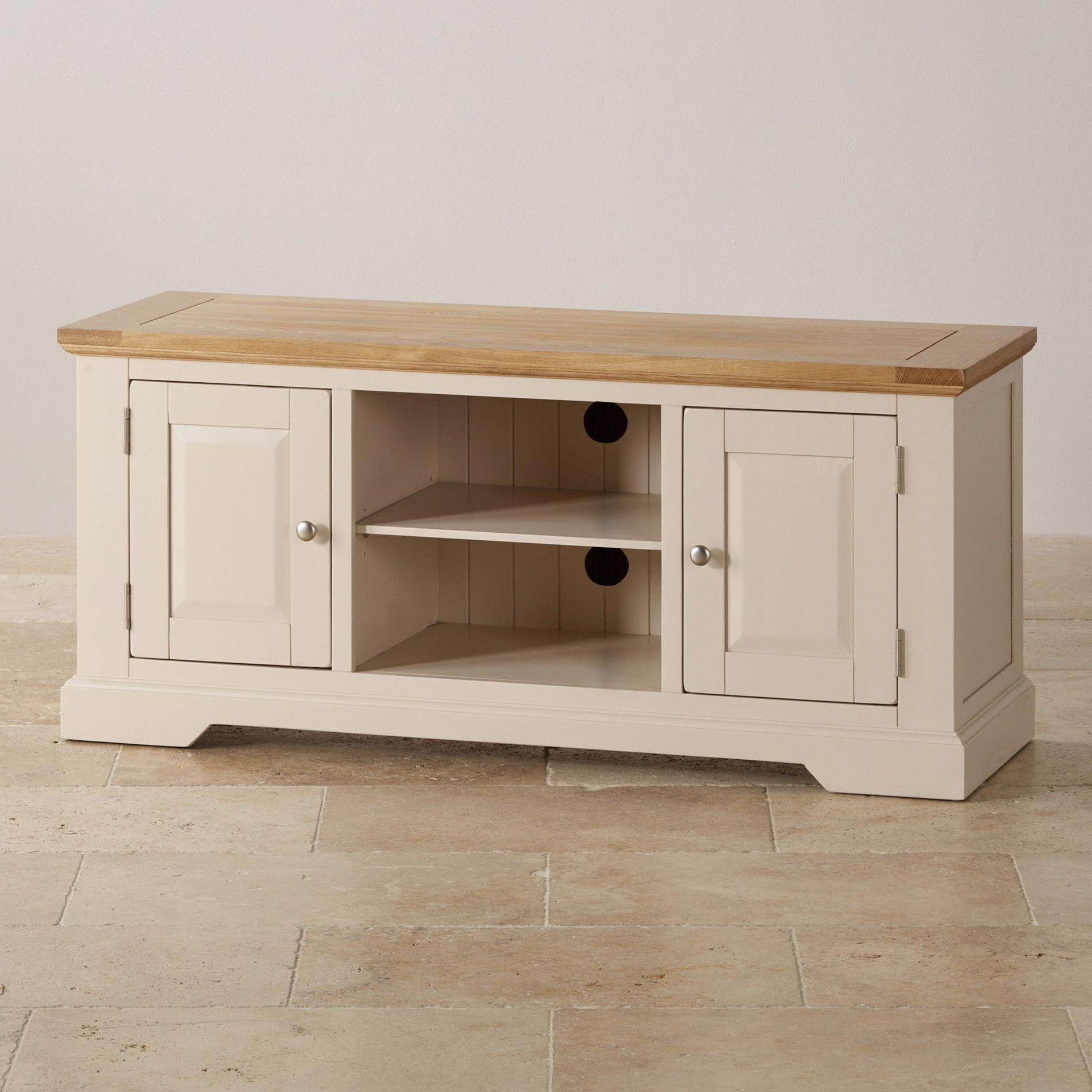 Favorite Cream Tv Cabinets In Camborne Natural Oak And Rich Cream Painted Widescreen Tv Cabinet (View 4 of 20)