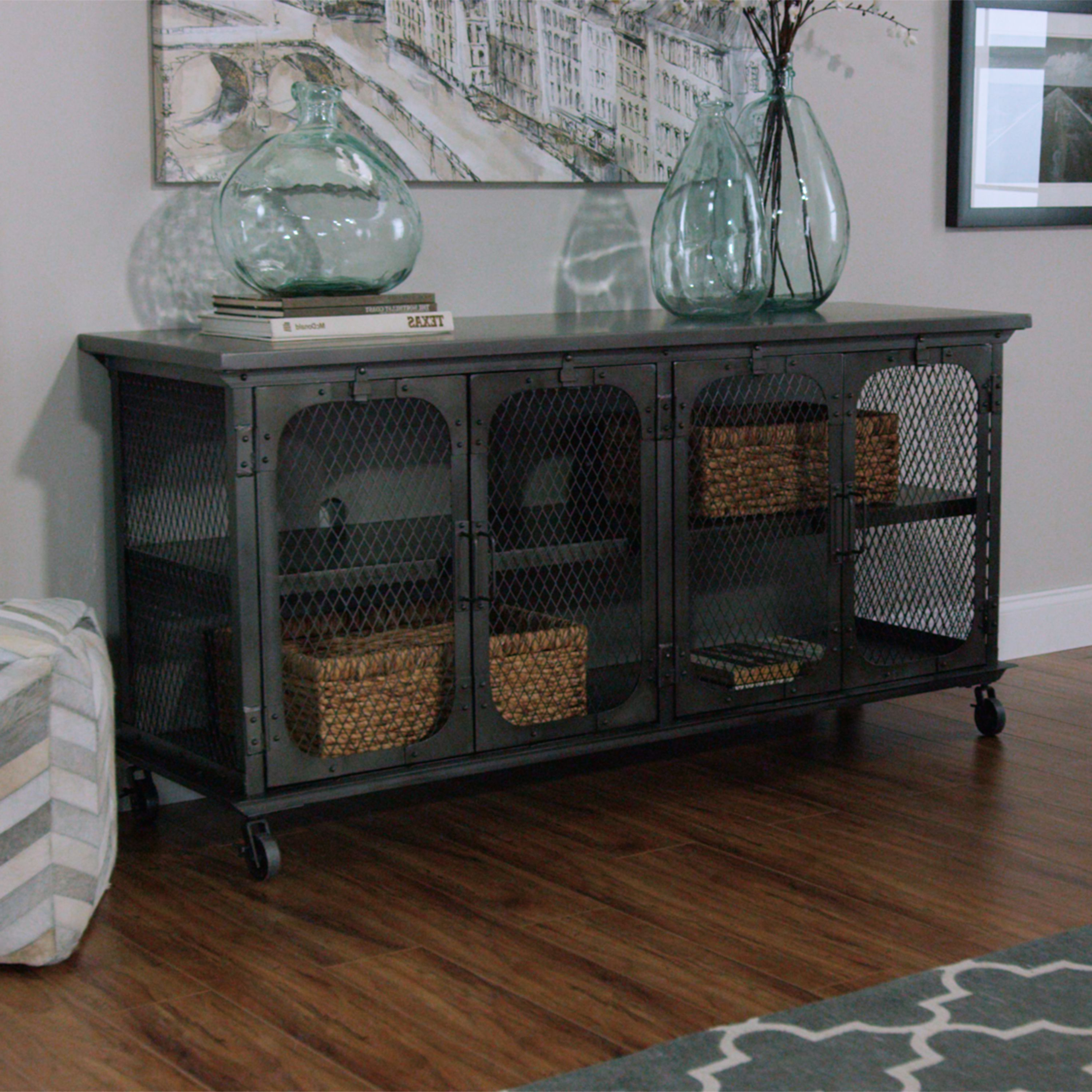 Favorite Exuding An Industrial Appeal, Our Tv Stand Features An All Metal With Industrial Metal Tv Stands (View 2 of 20)