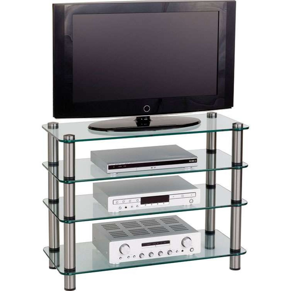 Favorite Flat Screen Tv Stand Furniture Glass Shelves Storage Within Glass Tv Stands (Gallery 7 of 20)