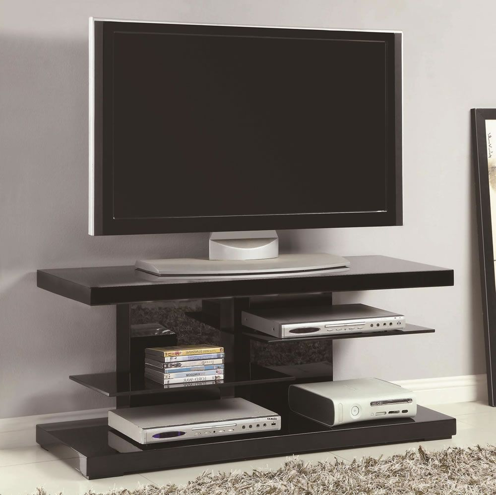 Favorite Floating Glass Tv Stands Throughout Small Modern Tv Stand With Open Glass Shelves In White Or Black In (Gallery 2 of 20)
