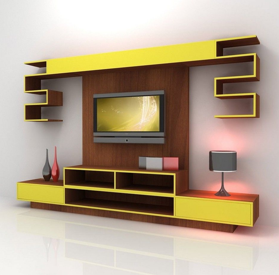 Favorite Furniture. Contemporary Yellow Mixed Brown Wooden Tv Stand Cabinet Pertaining To Yellow Tv Stands (Gallery 7 of 20)