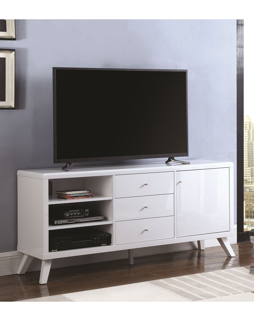 Favorite High Gloss Tv Cabinets Regarding Coaster Contemporary High Gloss Tv Stand – Austin's Furniture Depot (View 7 of 20)