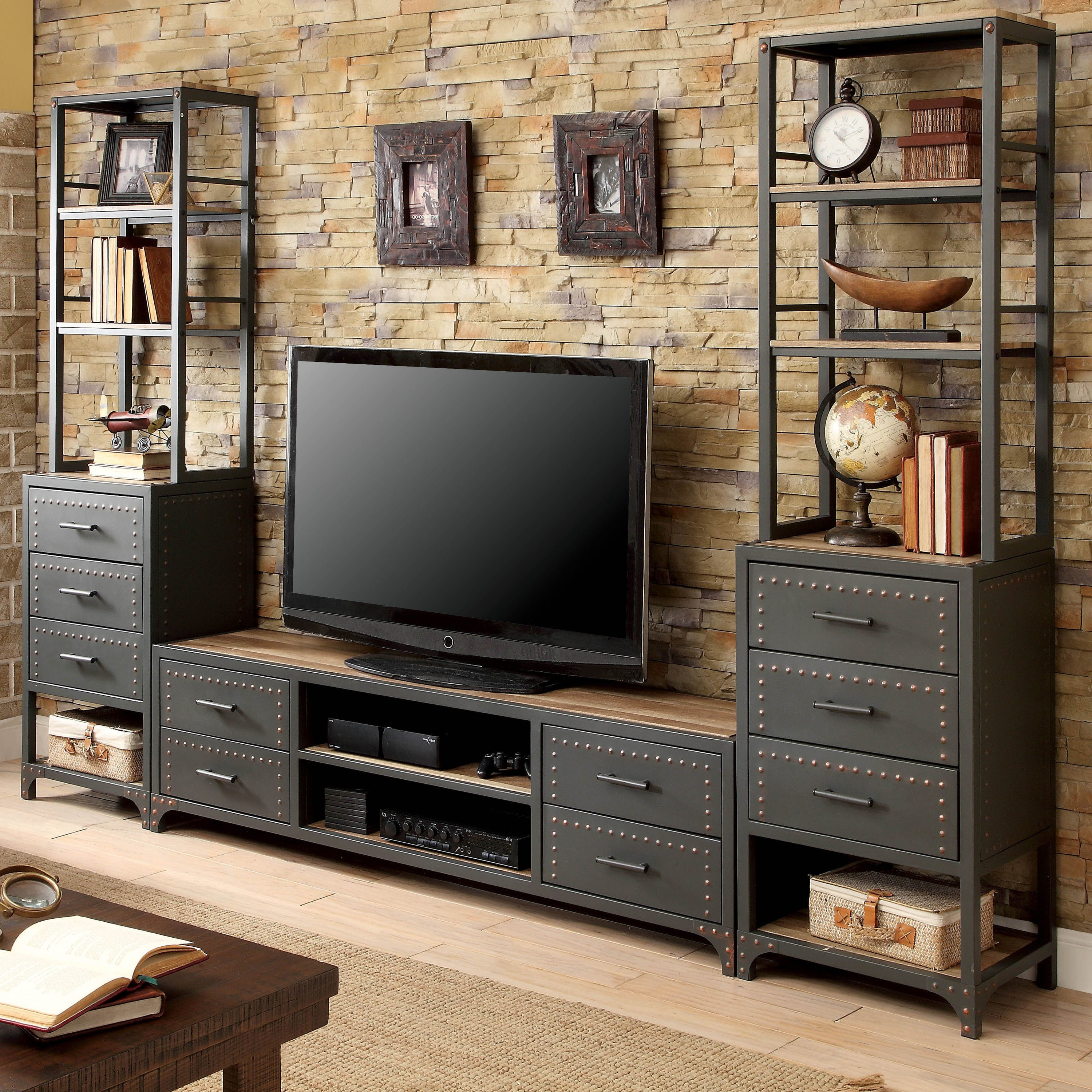 Favorite Industrial Metal Tv Stands Throughout Shop Furniture Of America Vectra Industrial Style Metal Tv Stand (View 3 of 20)