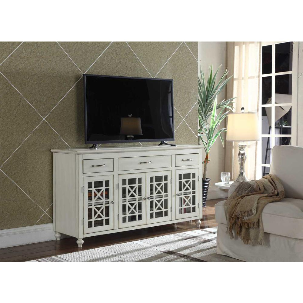 "Favorite Ladera 60"" White Tv Stand / Buffet Table Within Long White Tv Stands (View 12 of 20)"