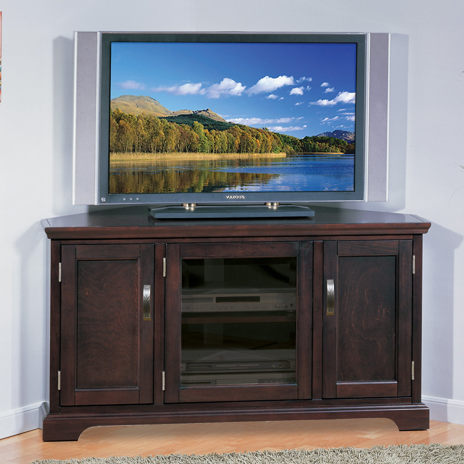 "Favorite Leick Riley Holliday 46"" Corner Tv Stand With Storage In Chocolate Within Tv Cabinets With Storage (View 8 of 20)"