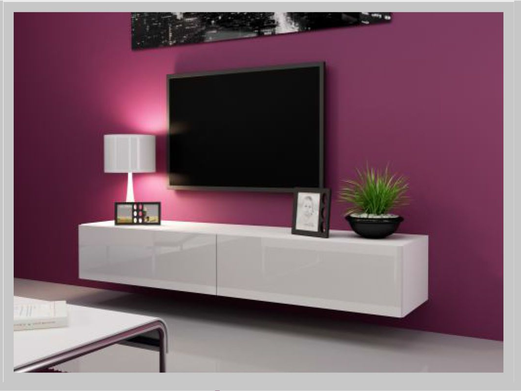 Favorite Modern High Gloss Tv Stand Unit 180Cm Entertainment Shelf Wall With Modern White Gloss Tv Stands (View 8 of 20)