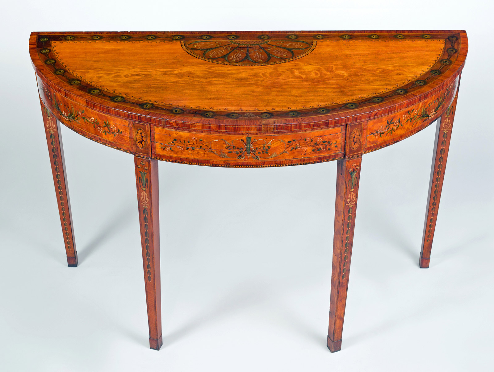 Favorite Orange Inlay Console Tables Intended For George Iii Inlaid Satinwood D Shaped Console Table (View 5 of 20)
