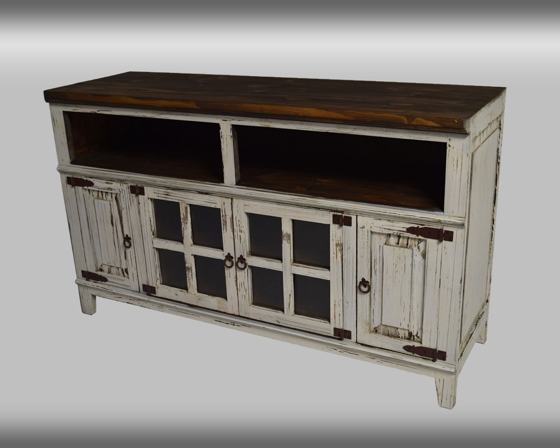 Favorite Rustic Collection: Tv Console (Antique, Black, Natural, Red Regarding Black And Red Tv Stands (View 12 of 20)