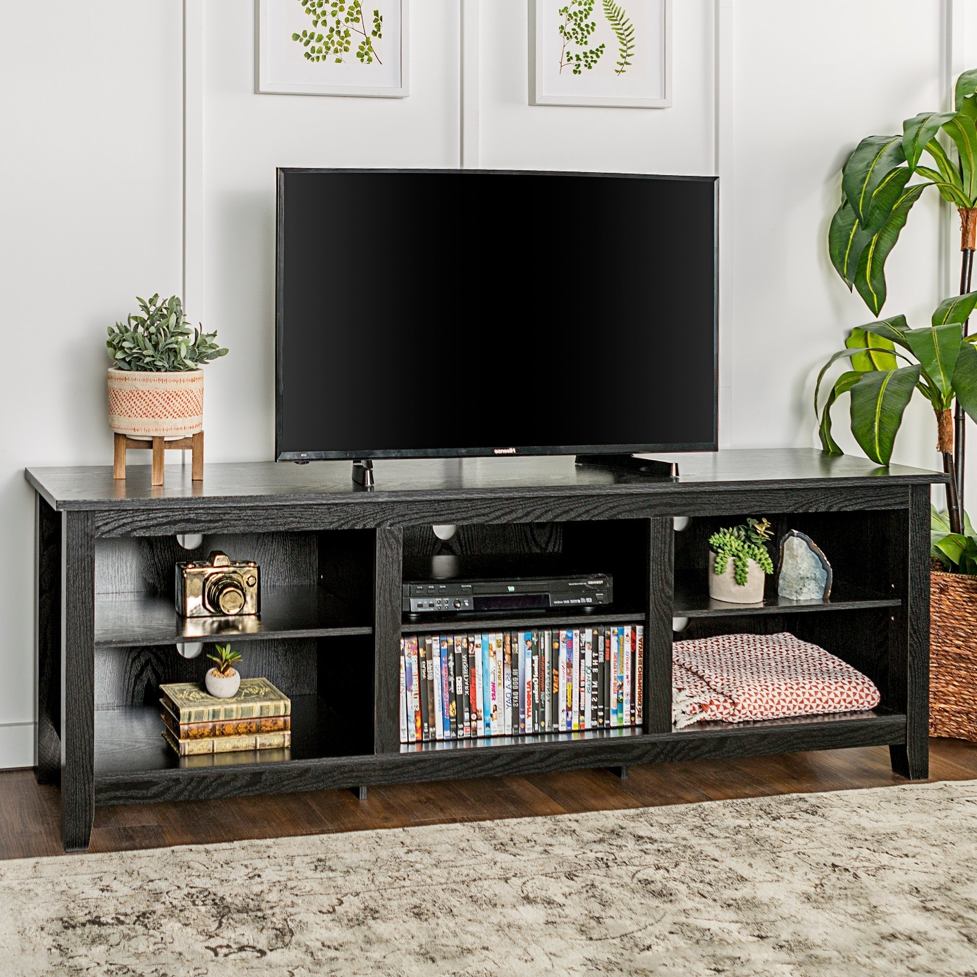 Favorite Shop Porch & Den Toston 70 Inch Black Tv Stand – On Sale – Free With Dark Tv Stands (View 10 of 20)