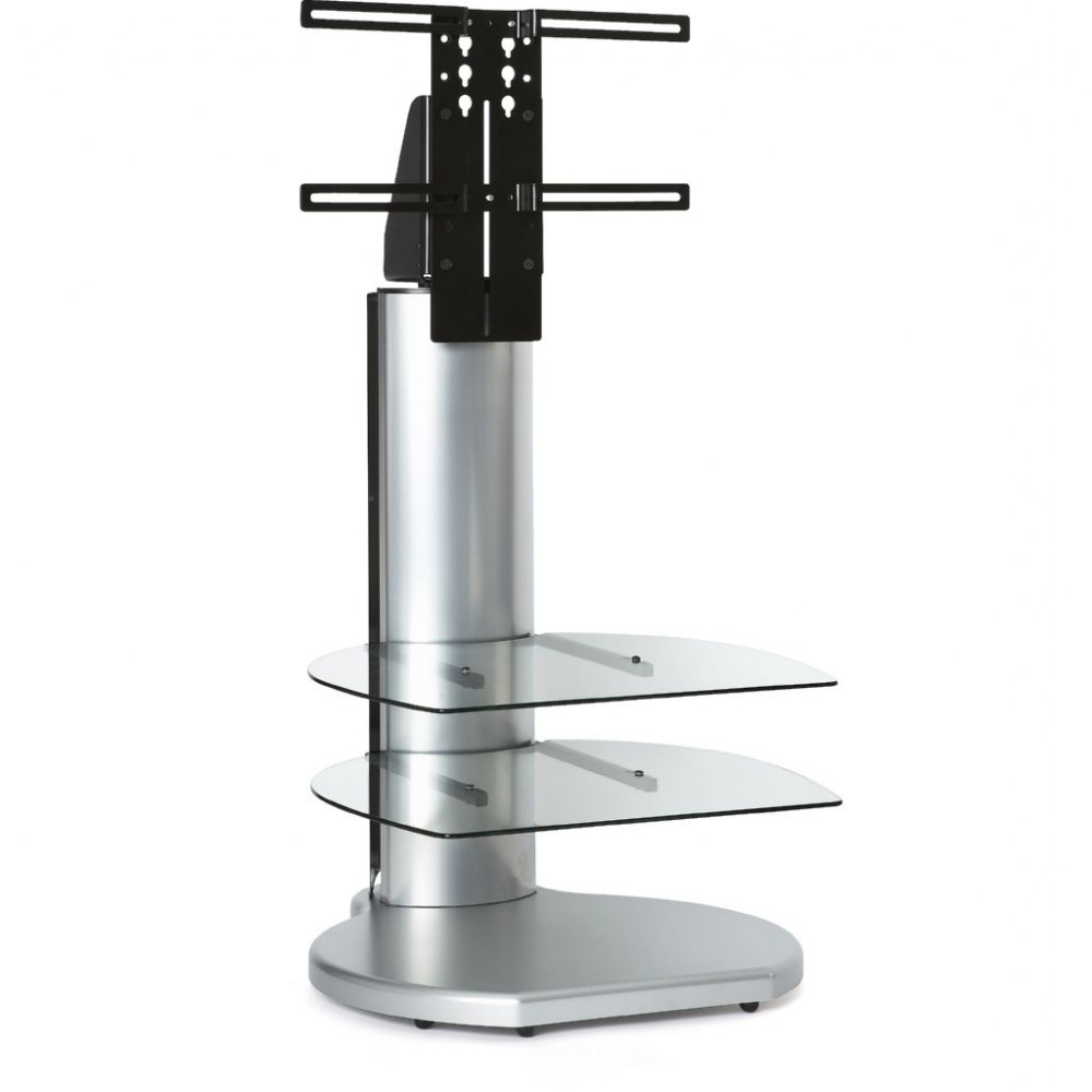 Favorite Silver Small Round Tv Stand Clear Glass Shelves Display Within Off The Wall Tv Stands (Gallery 12 of 20)