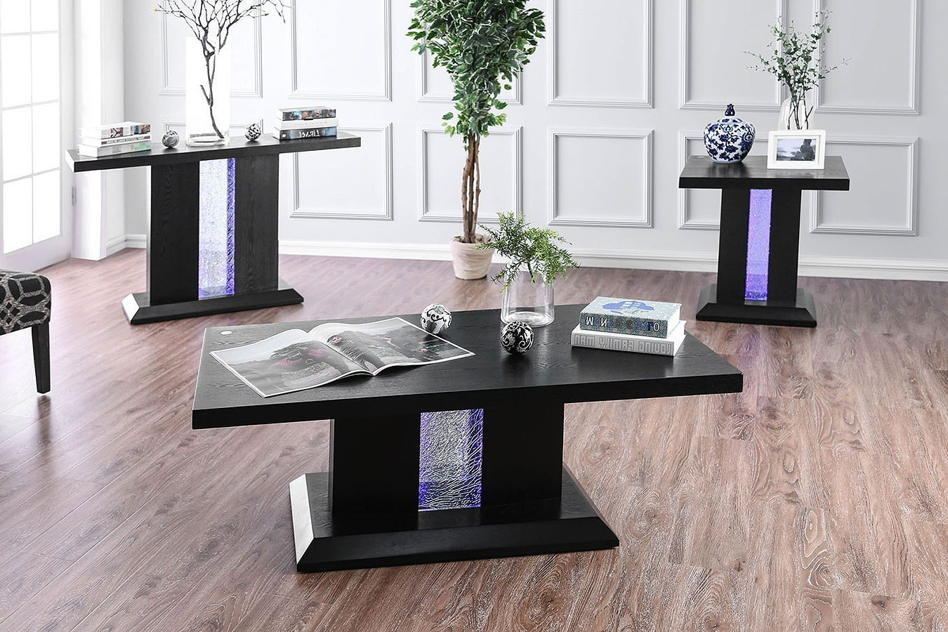 Favorite Tobias Occasional Table Set W/ Led Lightsfurniture Of America Intended For Tobias Media Console Tables (Gallery 7 of 20)