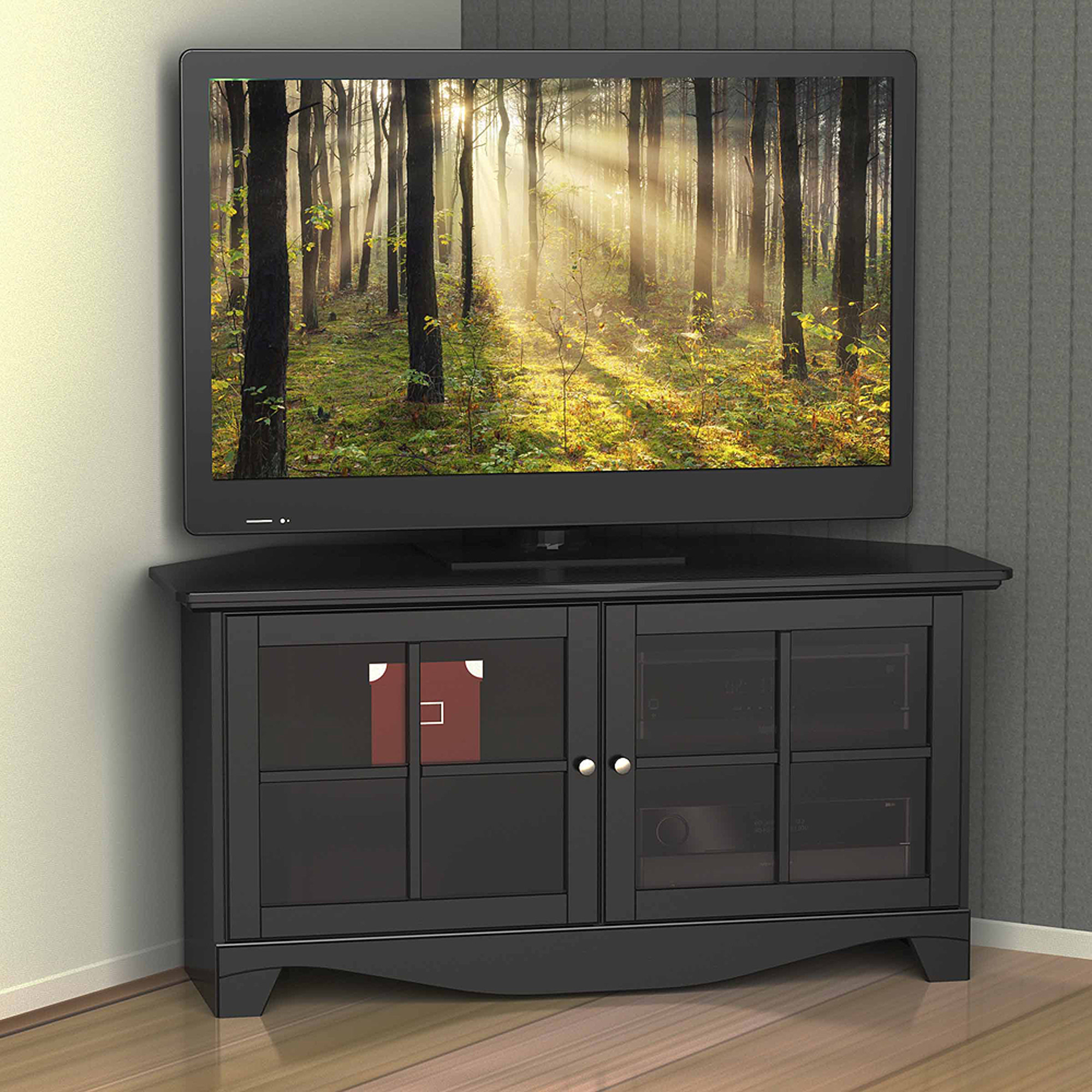 Favorite Tv Stands For Corners Regarding Corner Tv Stand Glass As Well Cabinet With 50 Inch Plus Mount (View 18 of 20)