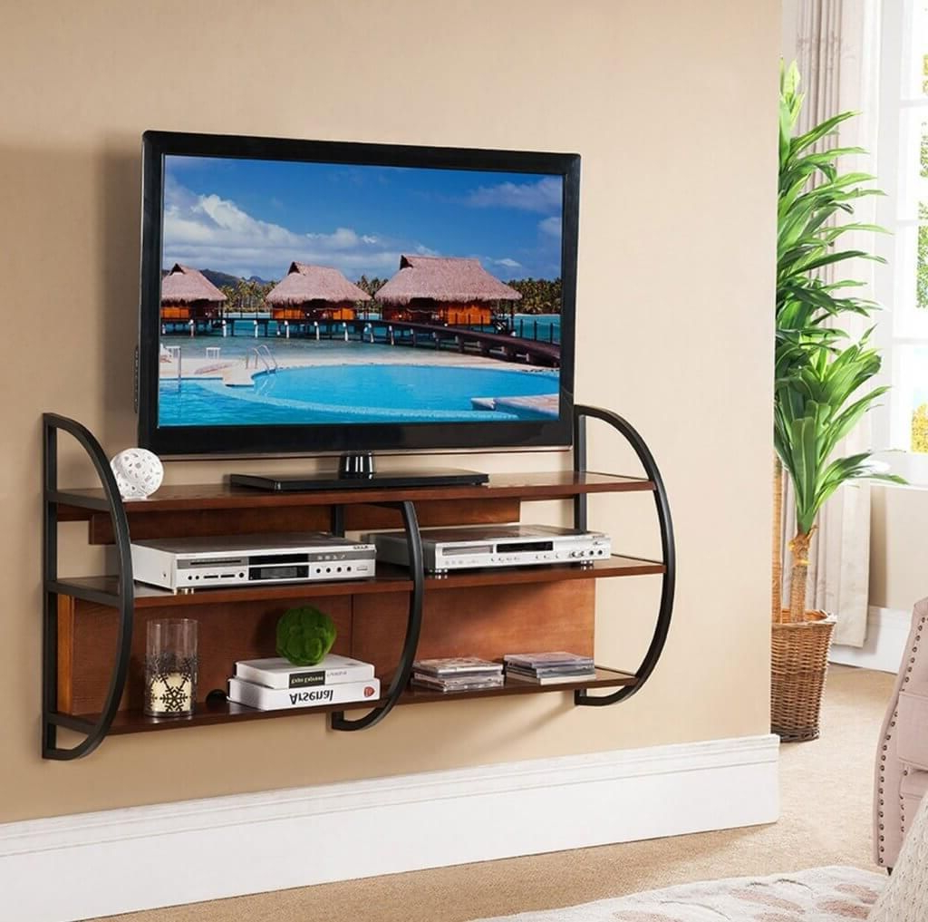 Favorite Tv Stands For Small Spaces In Furniture: Veer Iron Wall Mounted Tv Stands For Small Spaces (Gallery 12 of 20)