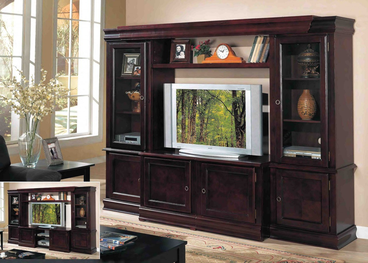 Favorite Wall Display Units And Tv Cabinets For Big Tv Stand Wood Flat Screen Wall Unit Dark Wooden Television (View 4 of 20)