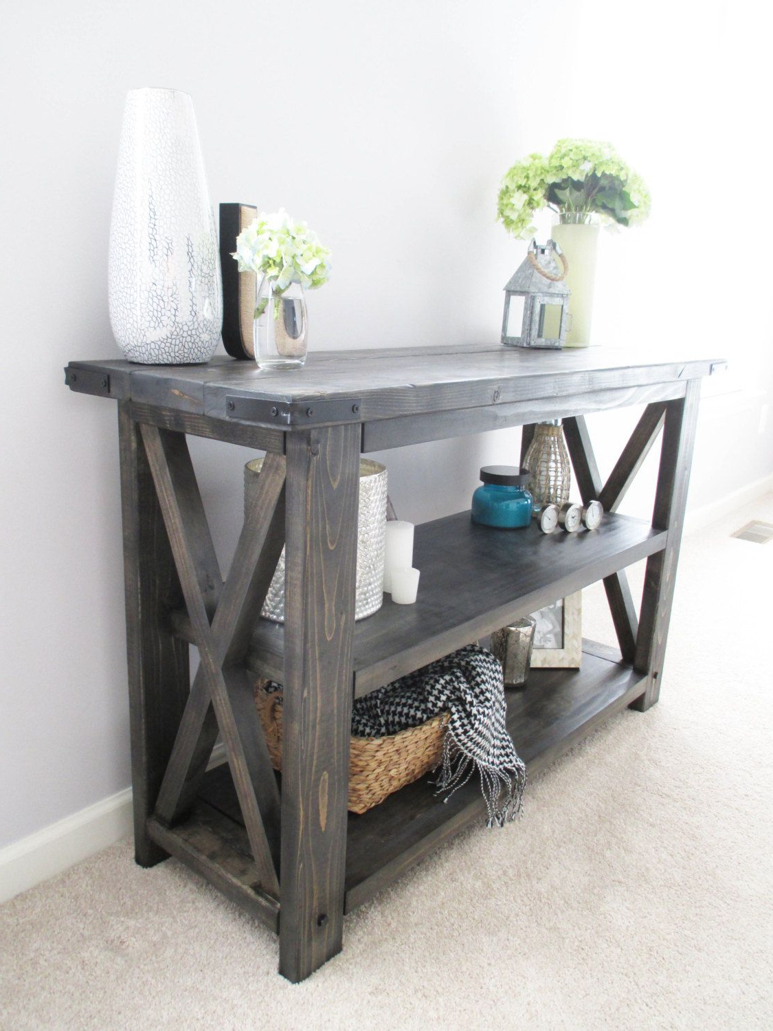 Favorite Walters Media Console Tables Inside Rustic X Distressed Handmade Console / Media Table / Bookshelf – 48 (Gallery 2 of 20)