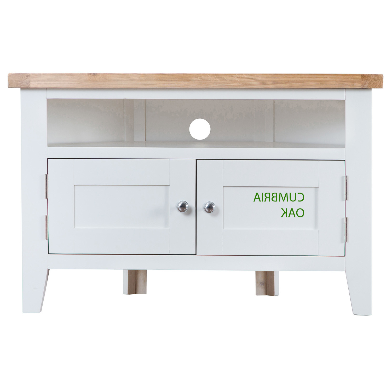 Favorite White Corner Tv Cabinets Regarding Kirkstone Oak Corner Tv Unit – Cumbria Oak (View 4 of 20)